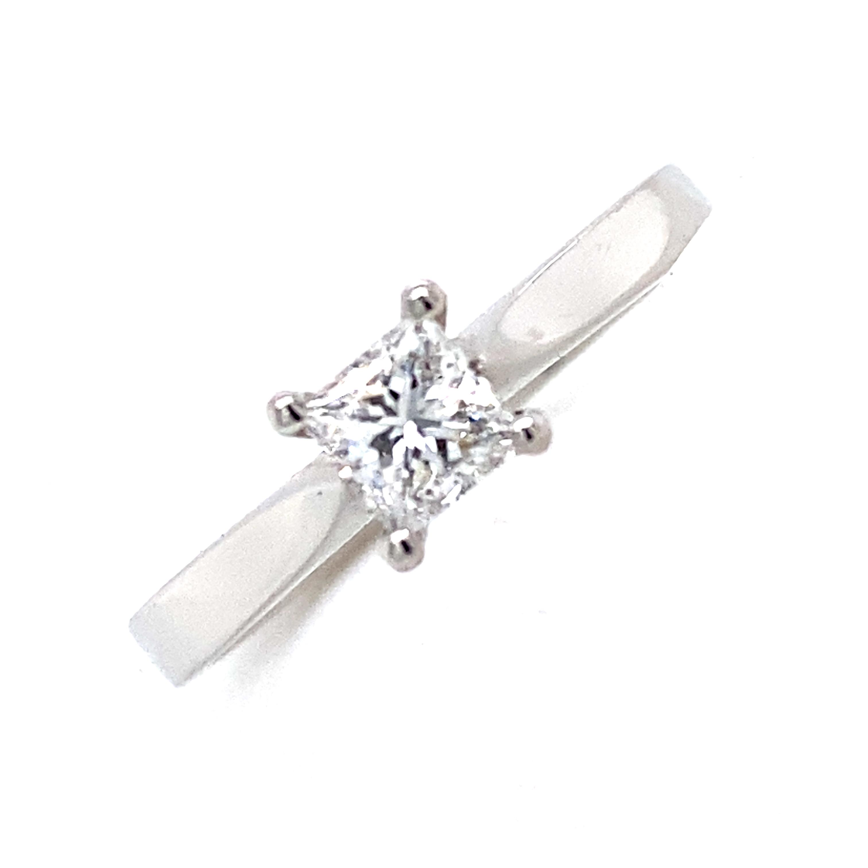 Doris - Platinum and Princess Cut Diamond Ring 0.37 Carat D VS2