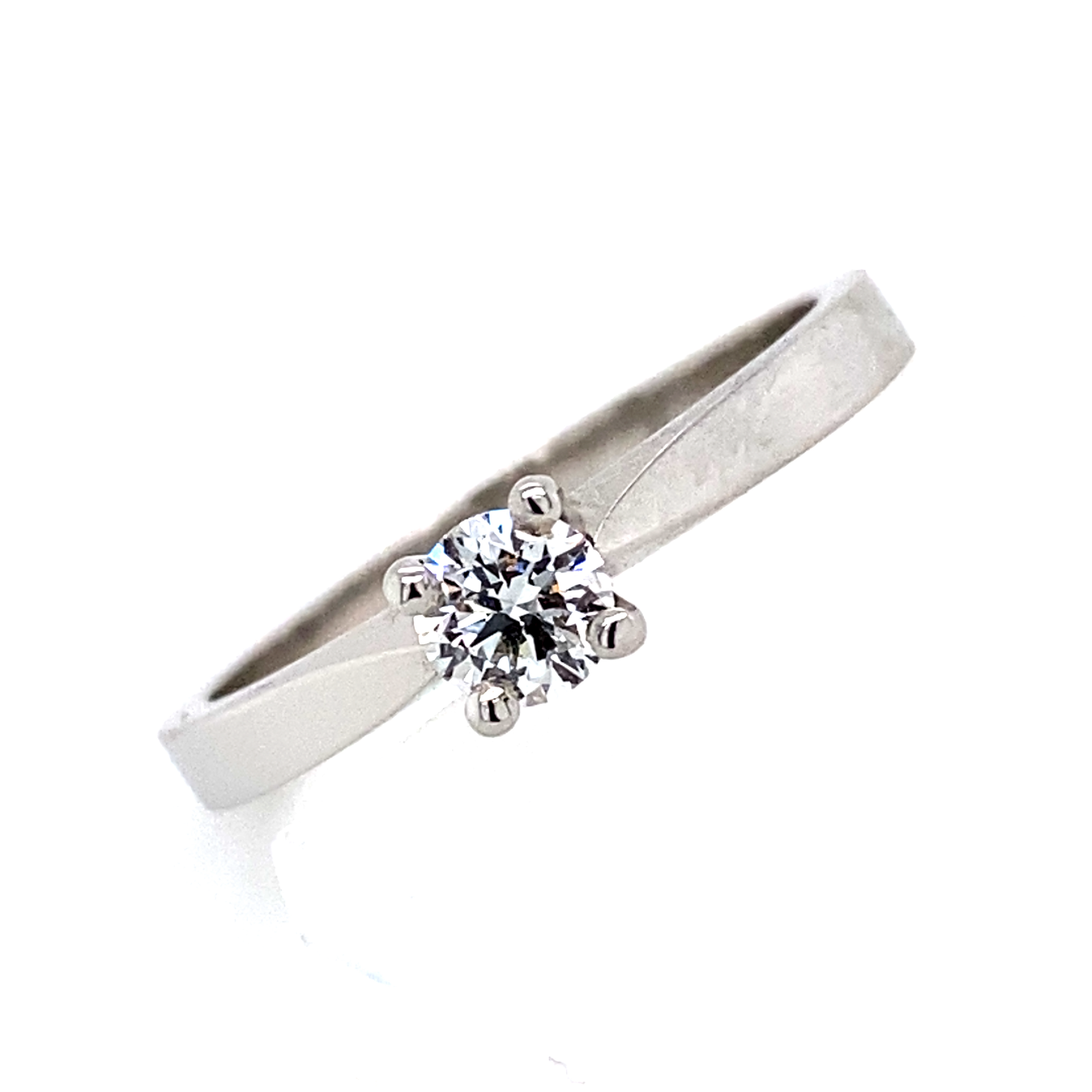 Platinum and Diamond Engagement ring - 0.24 Cts, D VS1