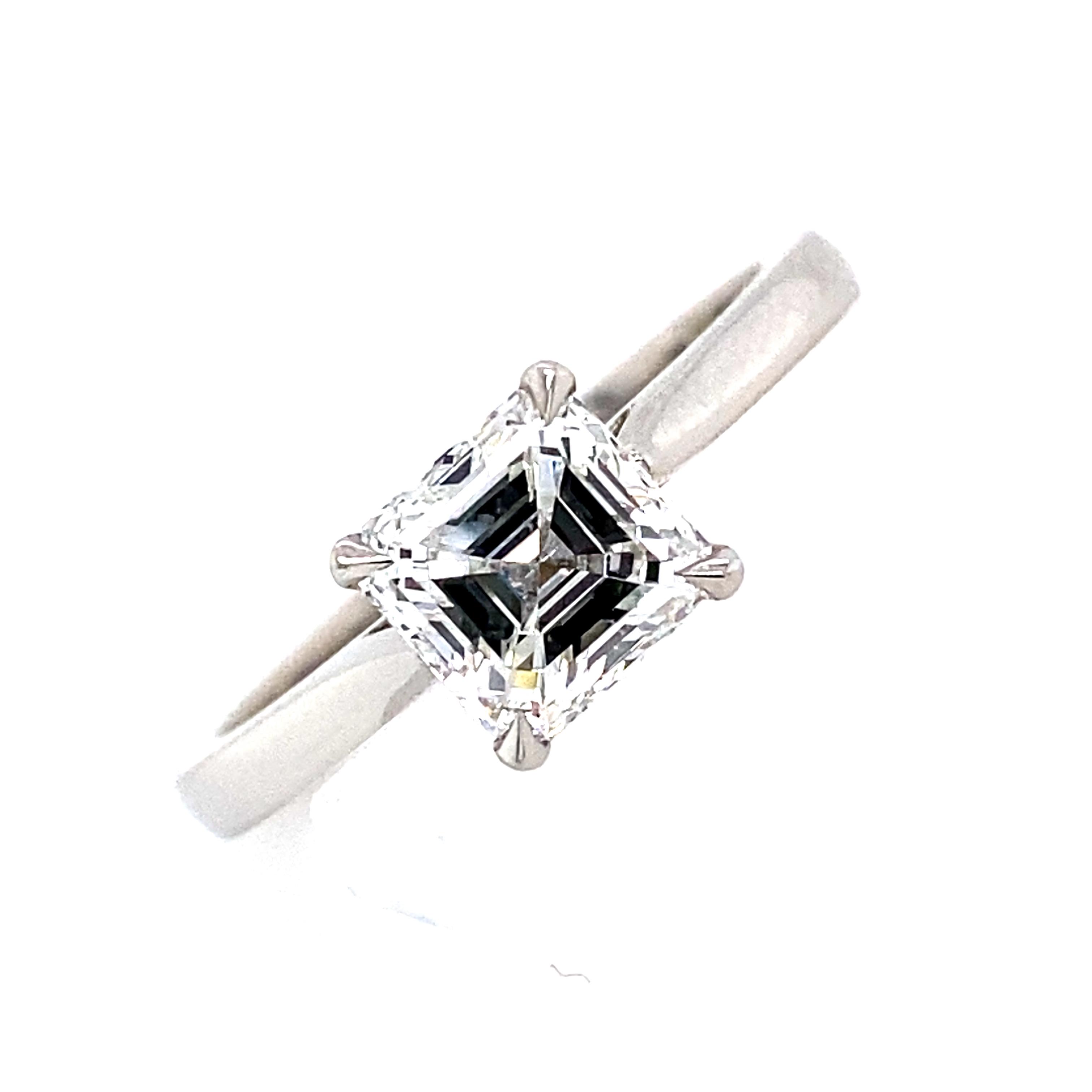 Platinum and Diamond Asscher Cut Diamond Ring 1.20 Carats G VS2