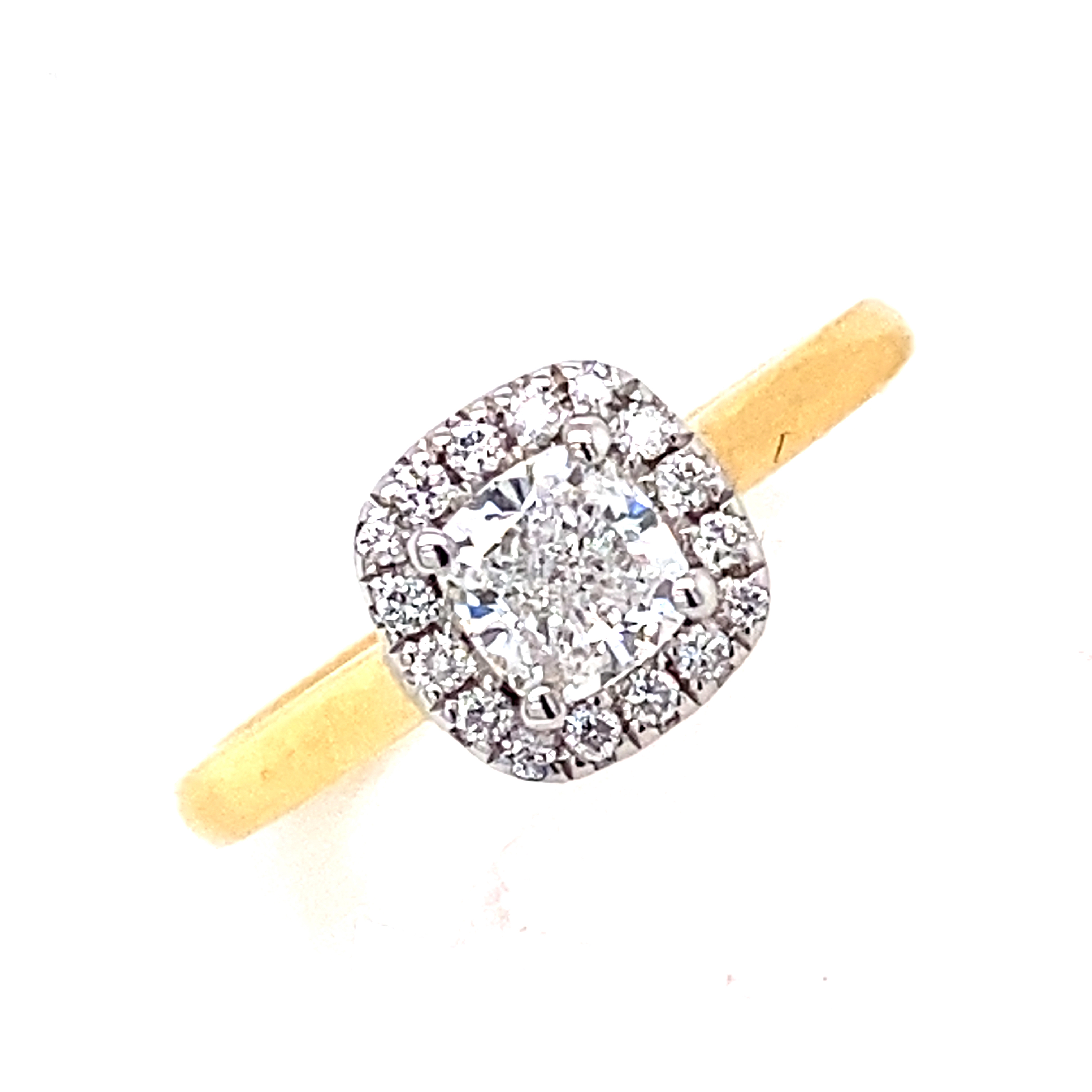 18 Carat Yellow and White Gold Diamond Cluster Ring- 0.50 EVS2