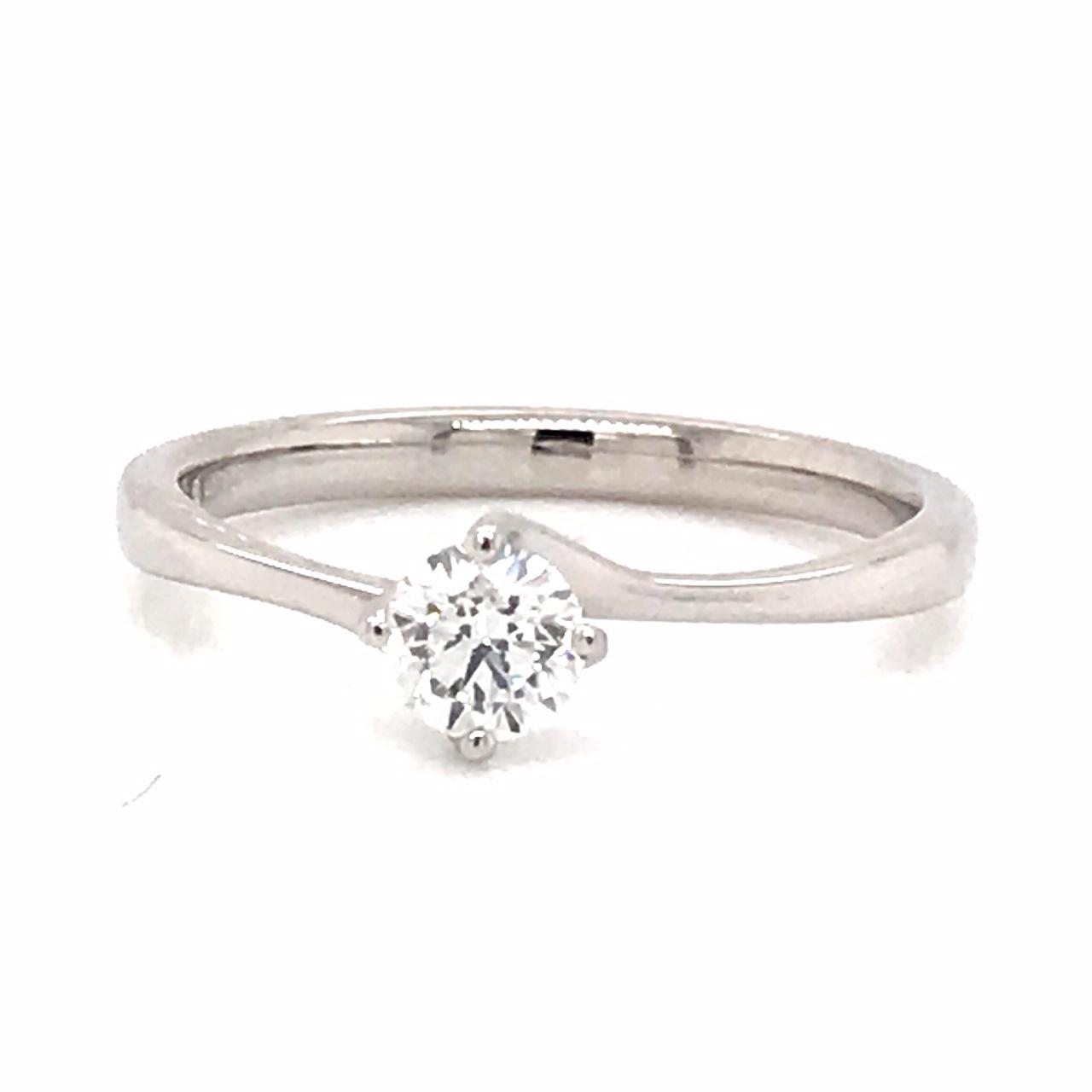 Platinum and Diamond Twist Engagement Ring 0.33 E VS1