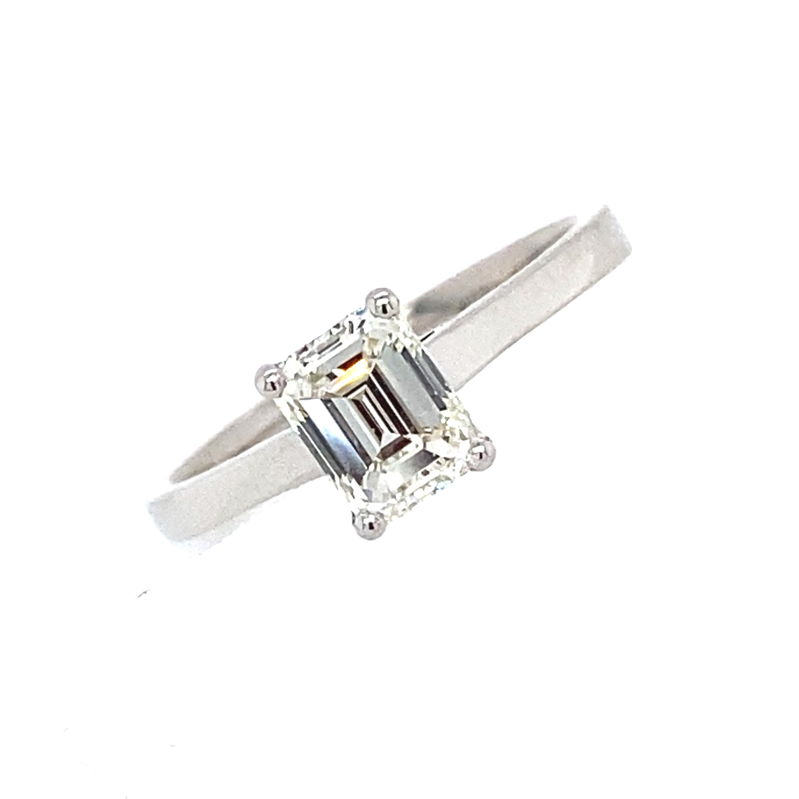 Platinum and Diamond Emerald Cut Engagement Ring 1.01Cts H/I Vs