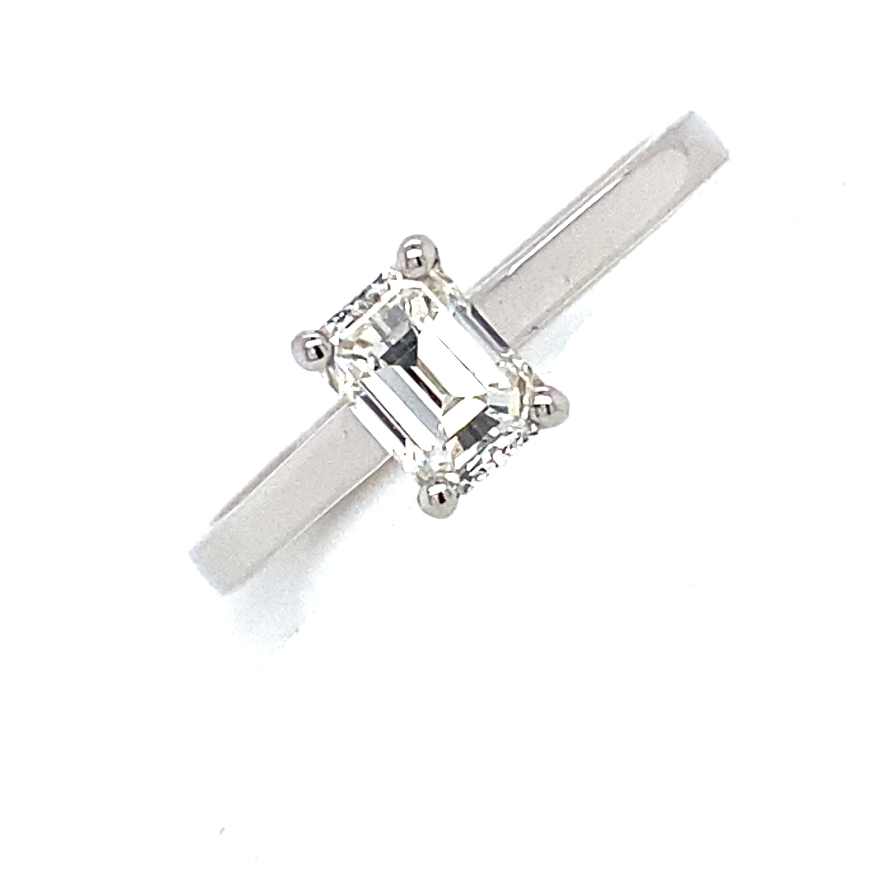 Platinum and Diamond Emerald Cut Diamond Ring 0.71Cts G/H Si