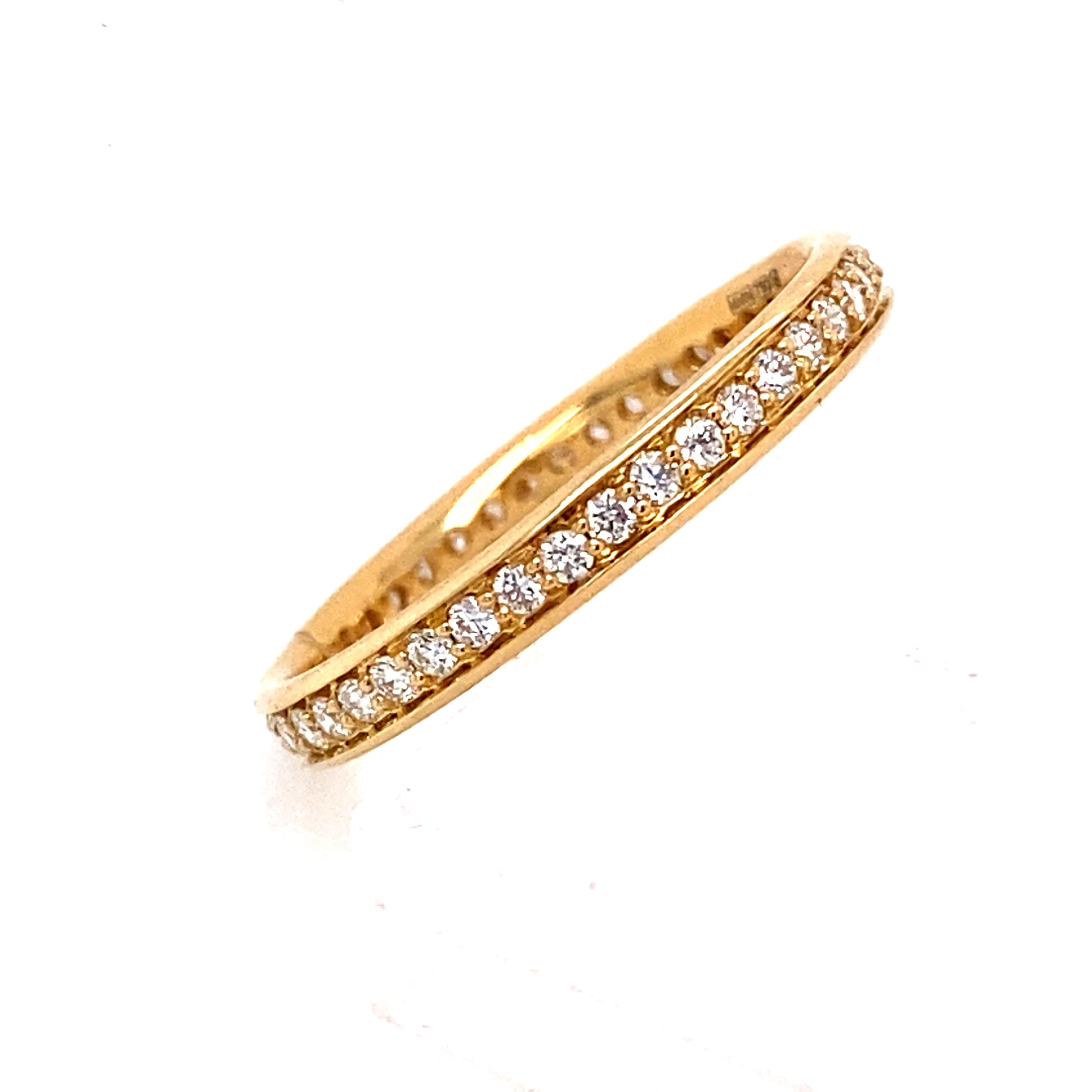 Grain Set Full Eternity Style Ring 18 Carat Yellow Gold 0.34cts