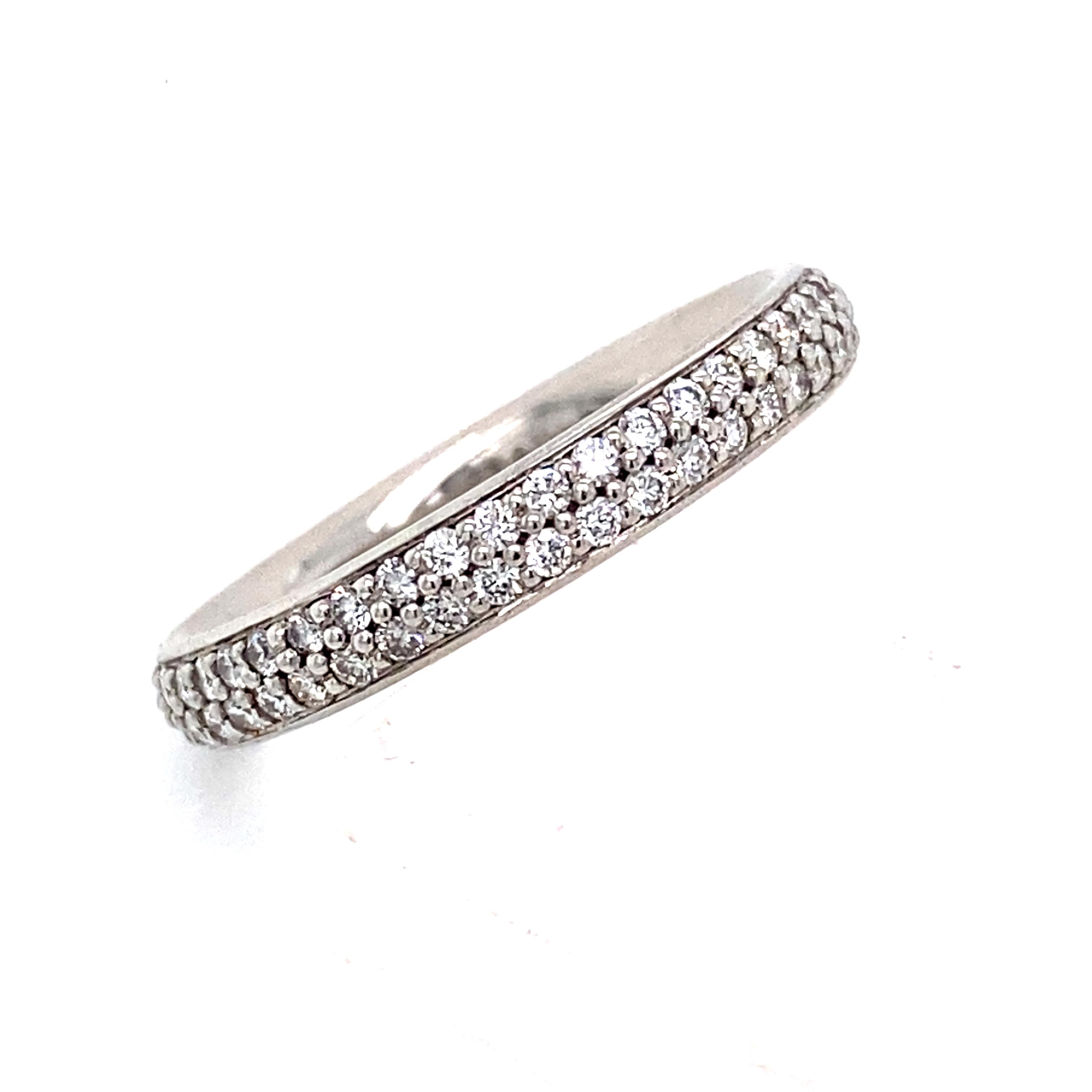 Platinum Double Row Diamond Pave Dome Ring 0 68 Carat