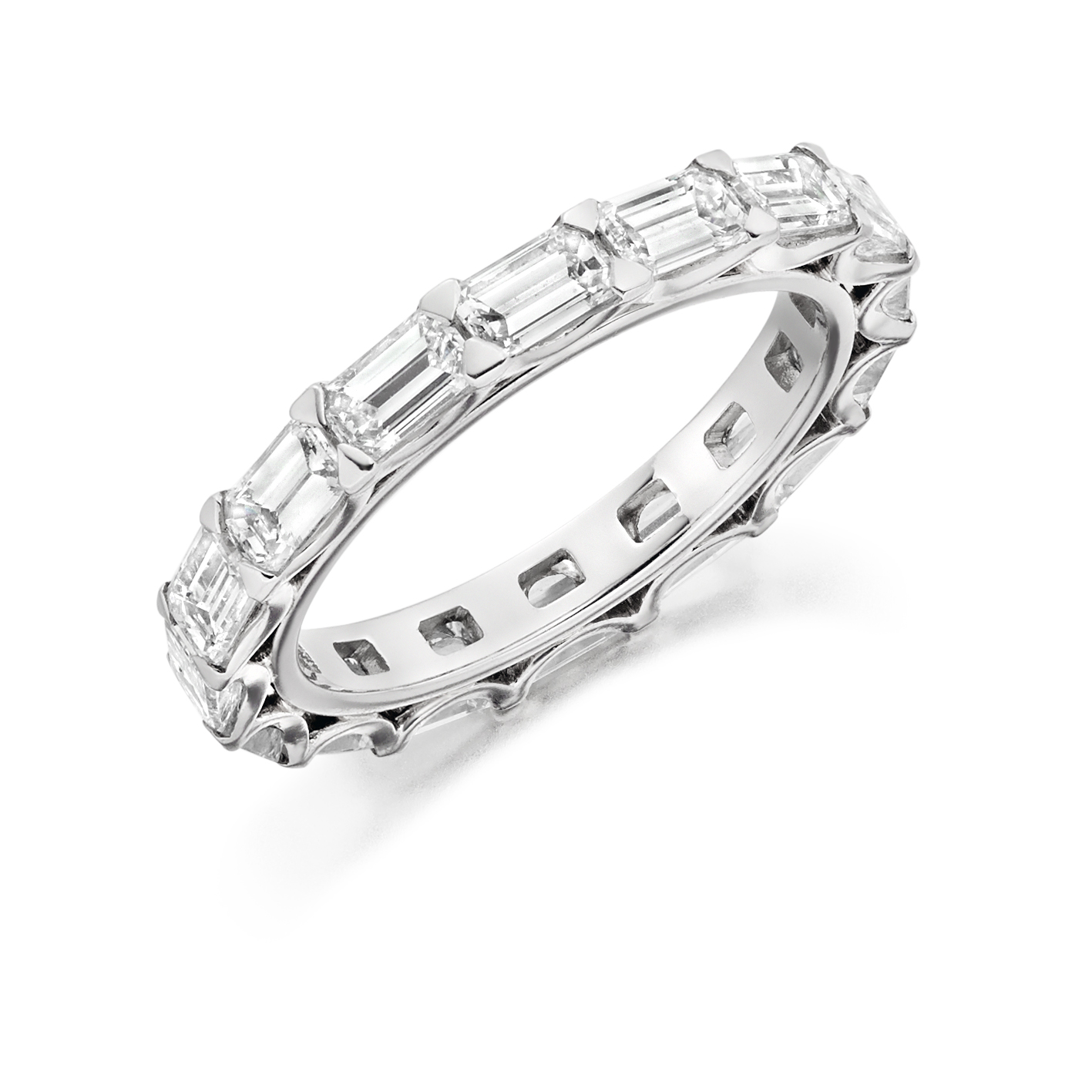 band diamond cut baguette bands gem eternity platinum