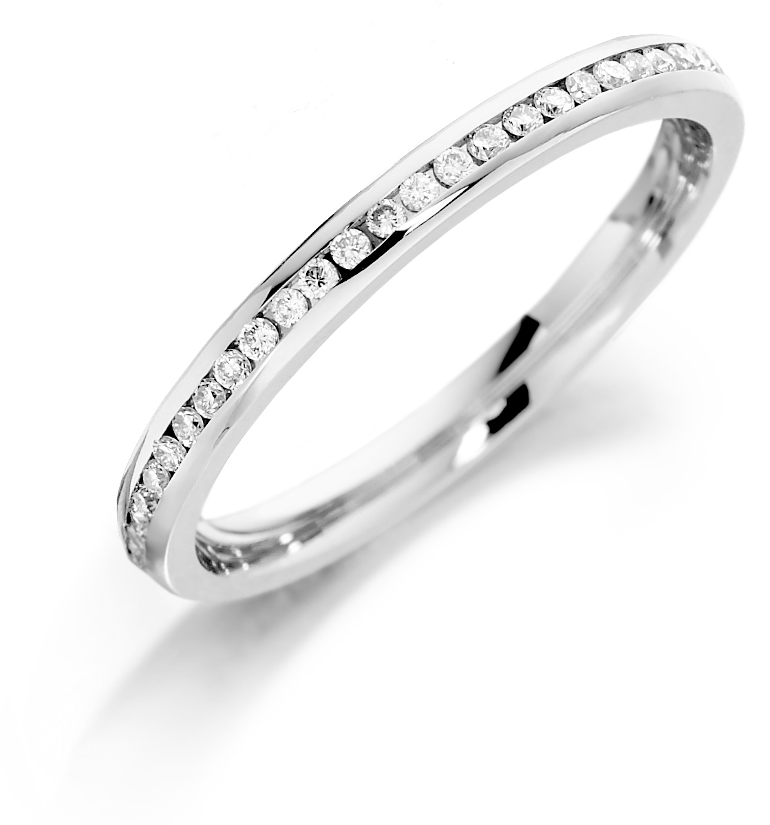 18 carat white gold  Channel Set Full Eternity Ring - 0.27cts