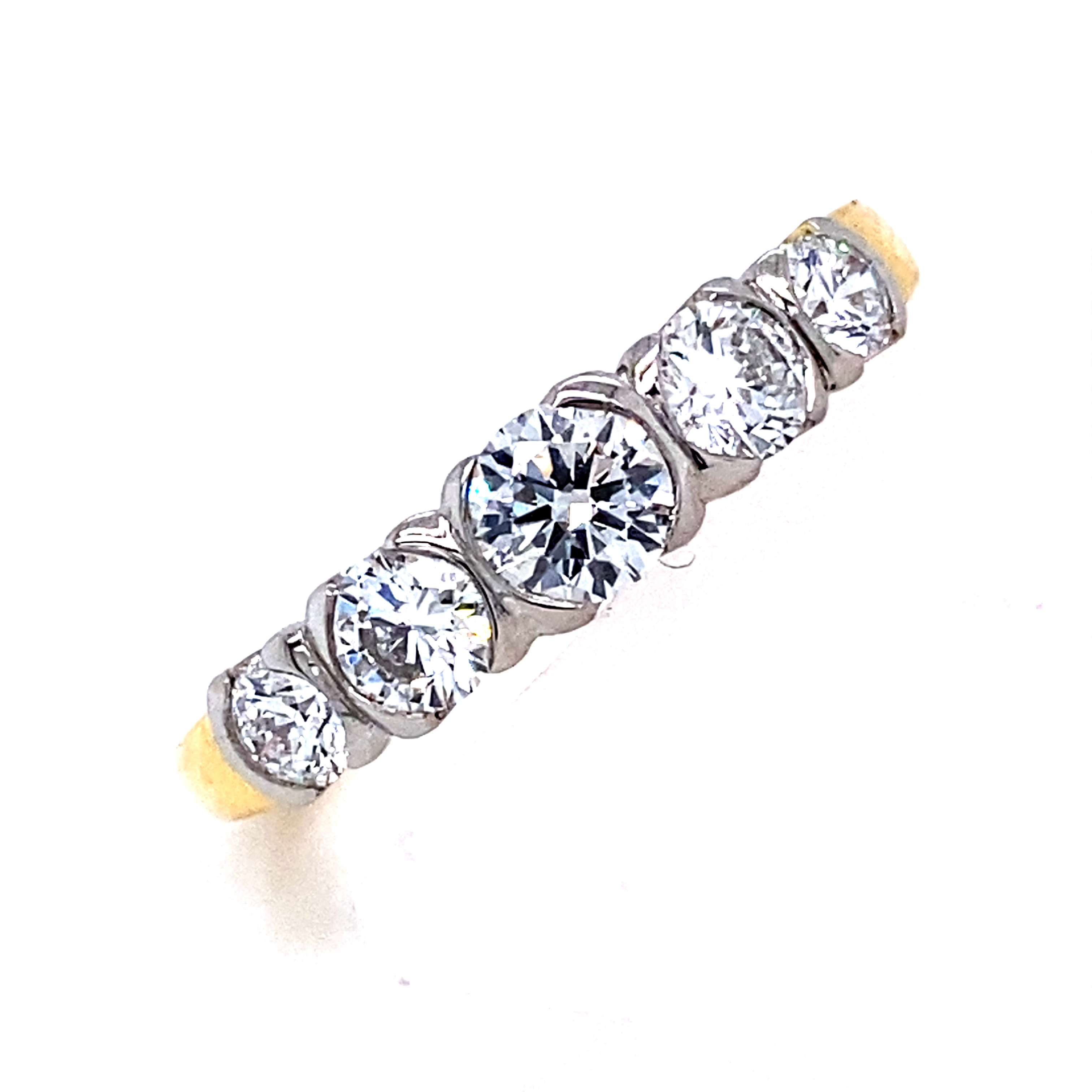 5 Stone Diamond Ring in Yellow and White gold - 0.90 Carats