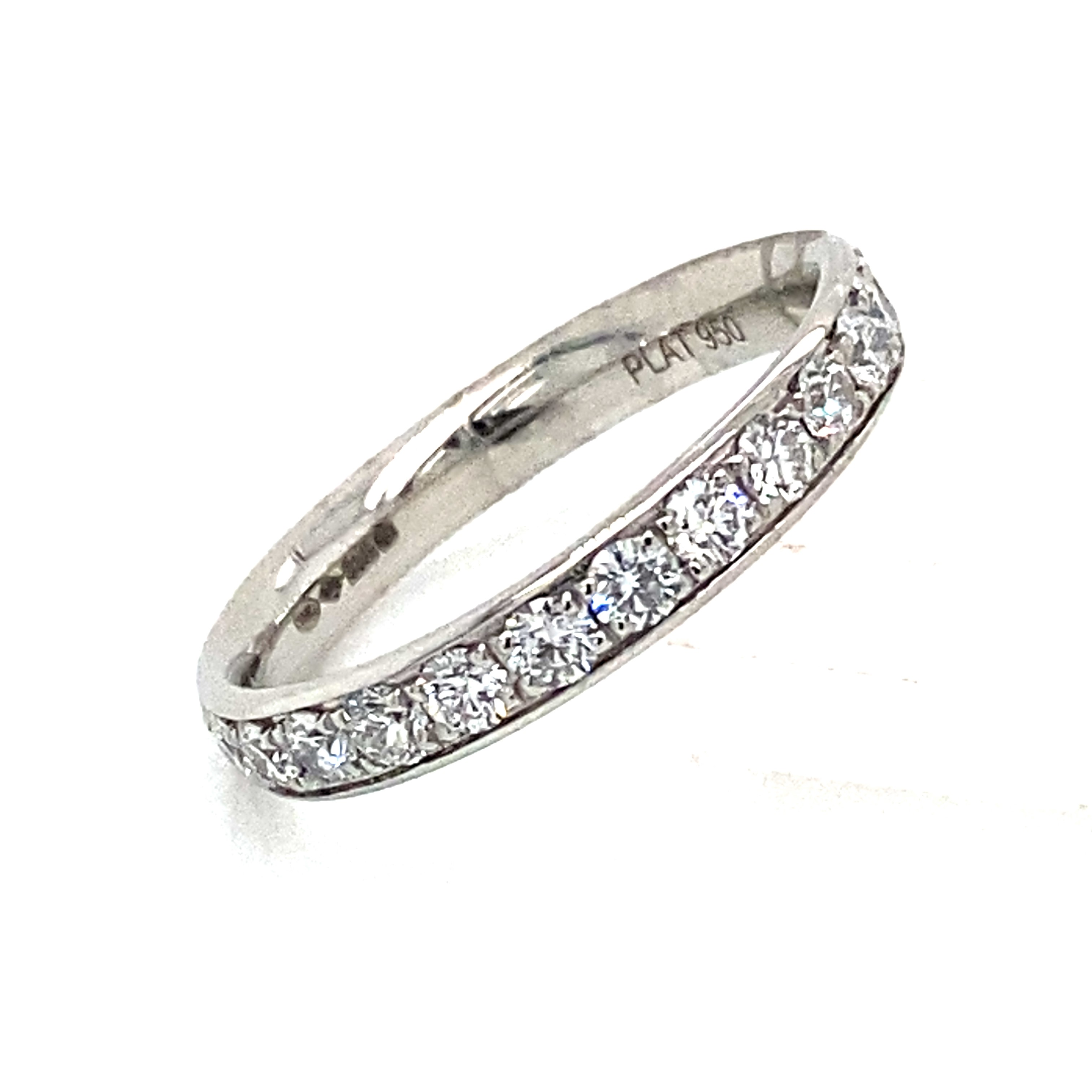 Platinum and Diamond Grain Set Full Eternity Style Ring 1.04 Ct