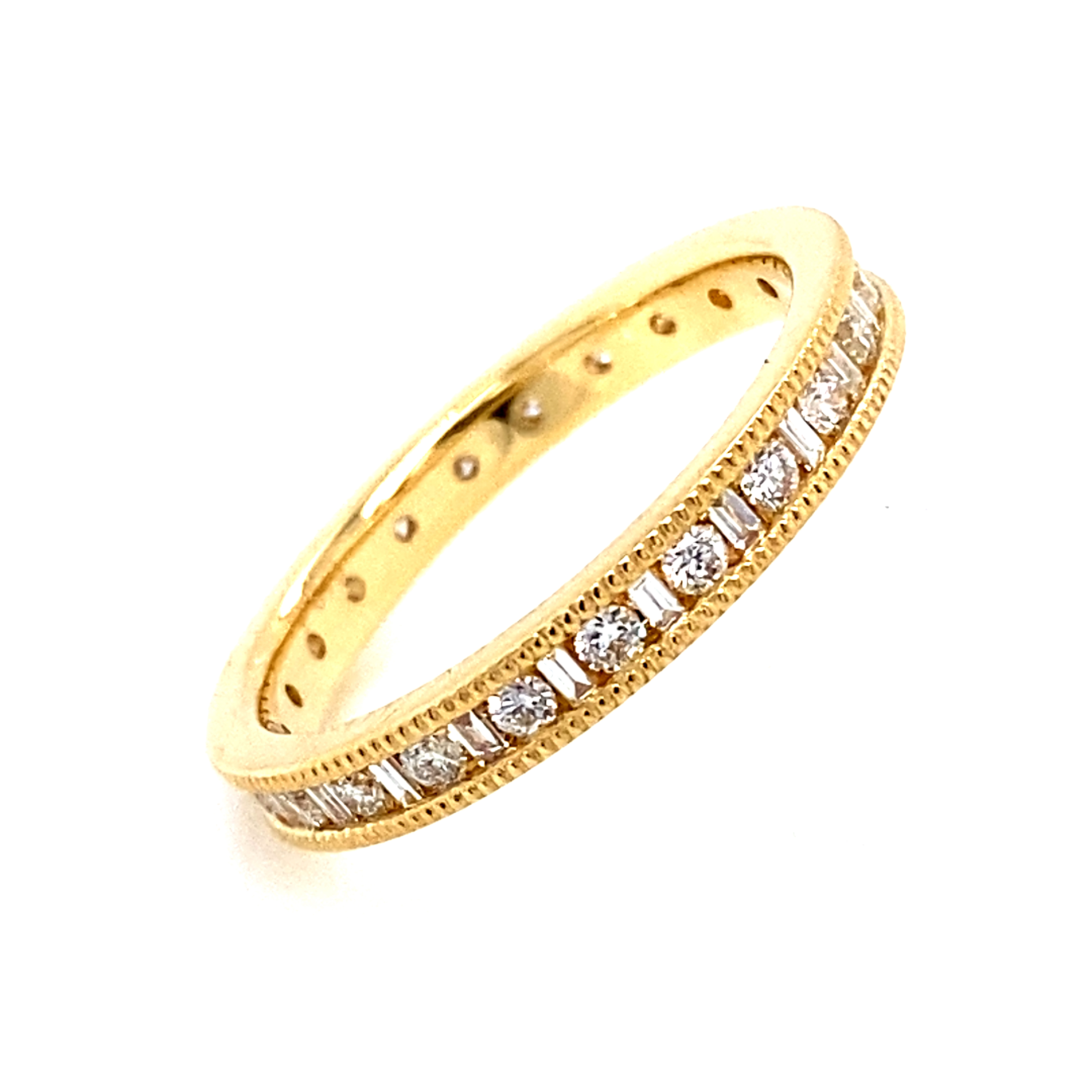 18 Carat Yellow Gold Brilliant and Baguette Channel Set Ring