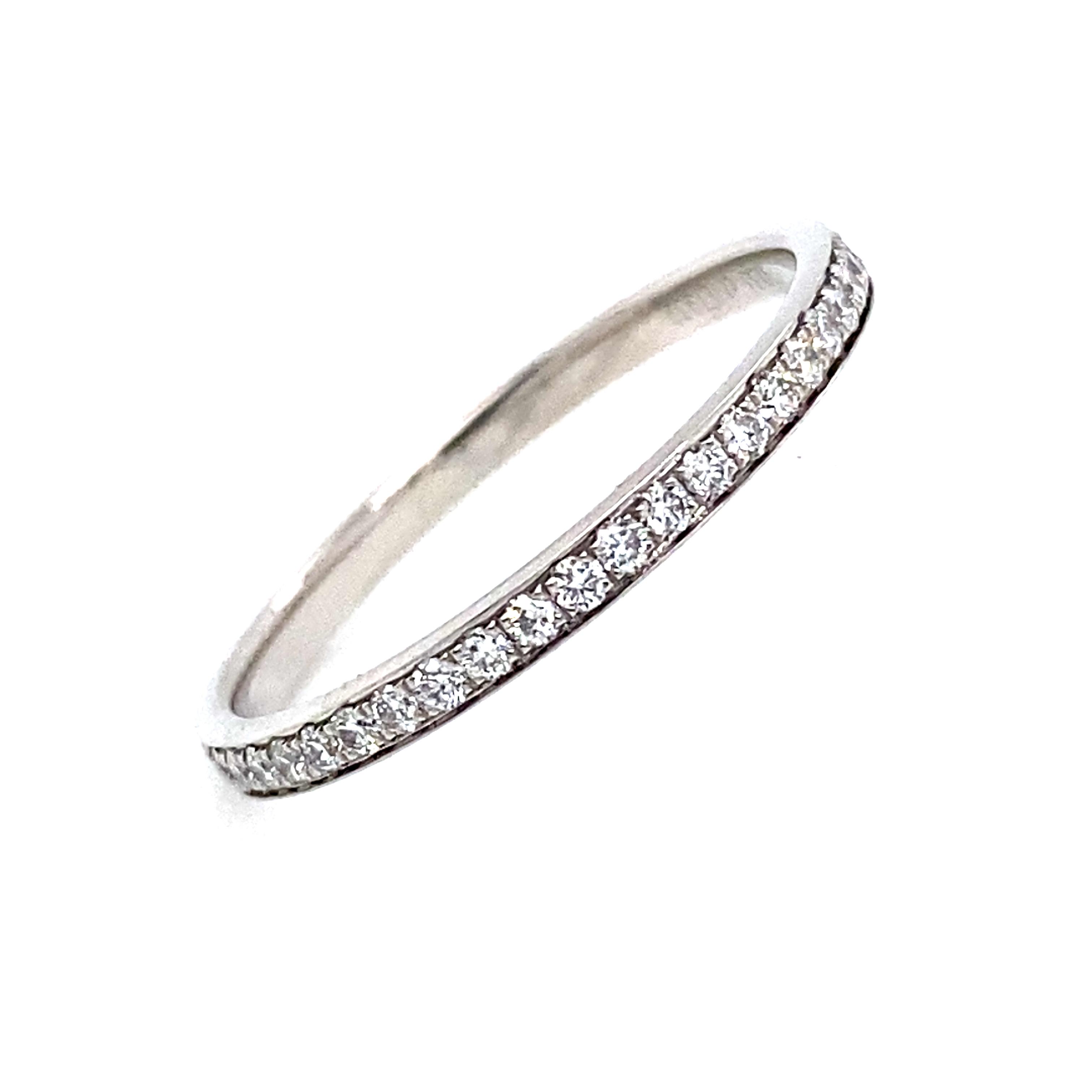 Full Grain Set Eternity Style Ring in Platinum