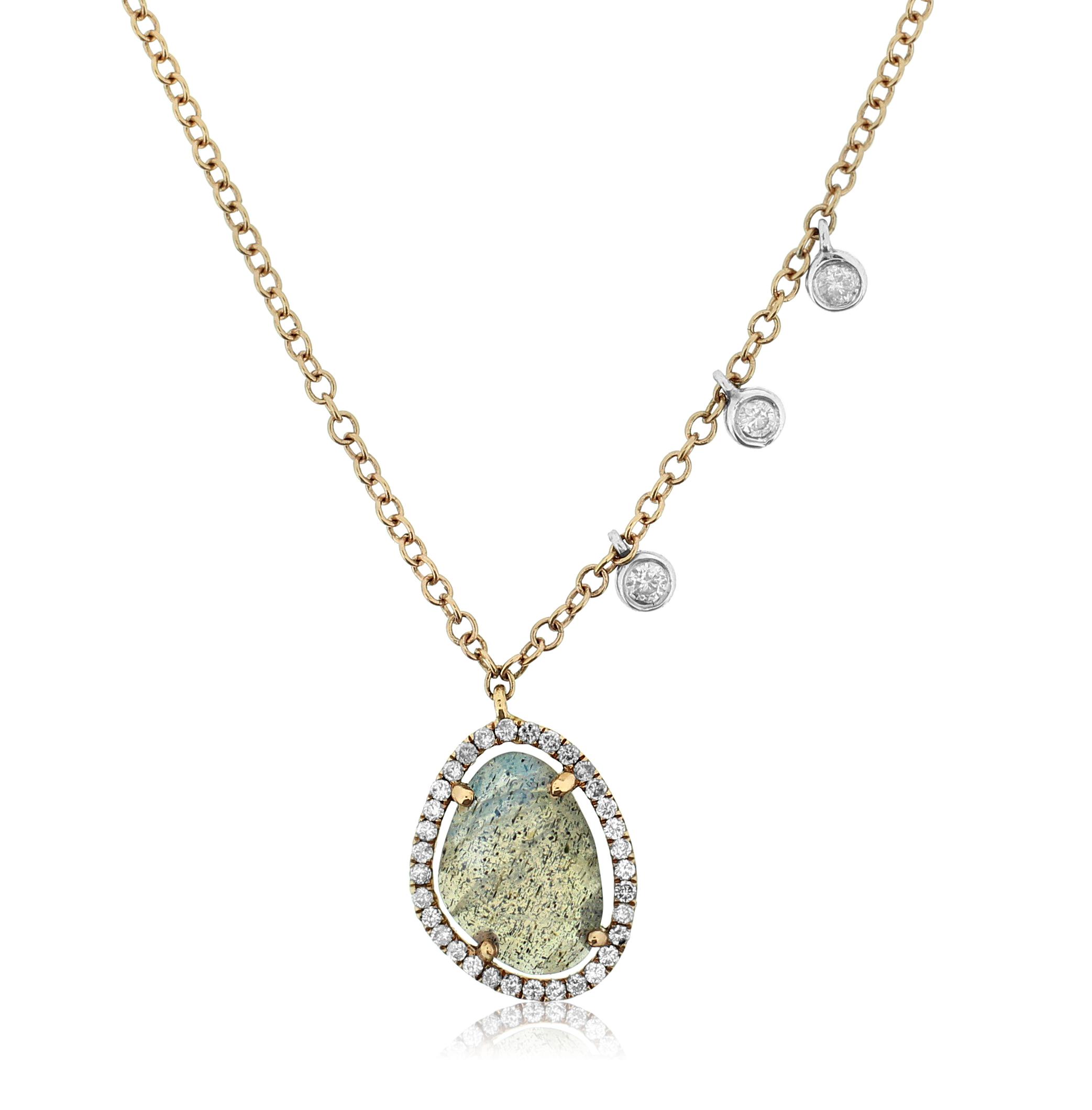 18 carat gold labradorite and necklace