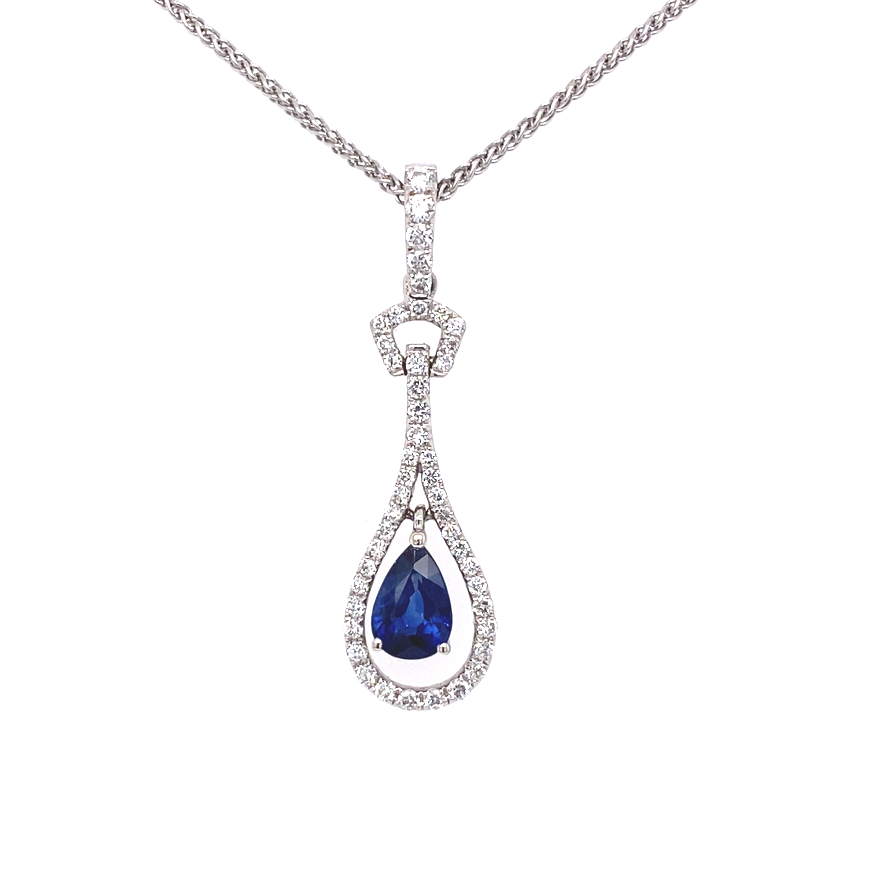 18ct white gold sapphire and diamond pear shaped drop pendant