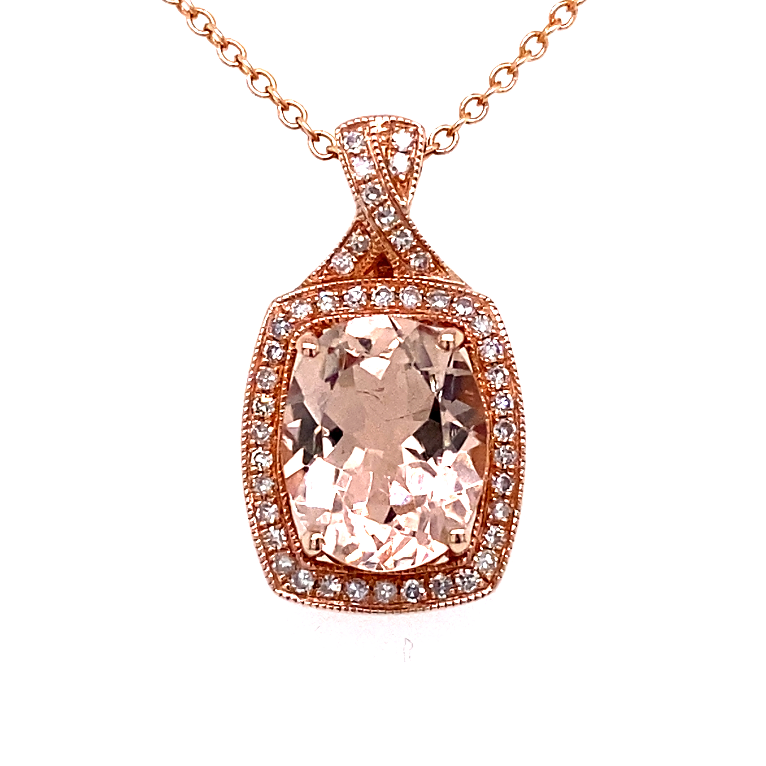 14ct Rose Gold, Morganite and Diamond Pendant.
