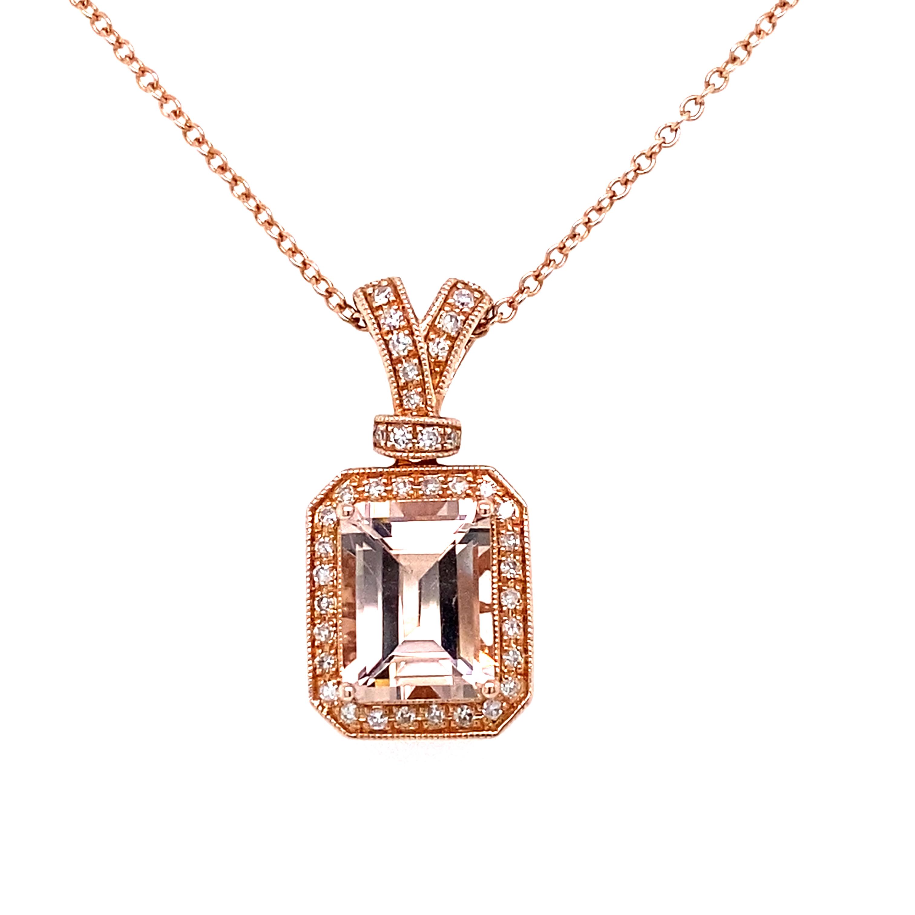 14ct Rose Gold Morganite and Diamond Deco Style Pendant