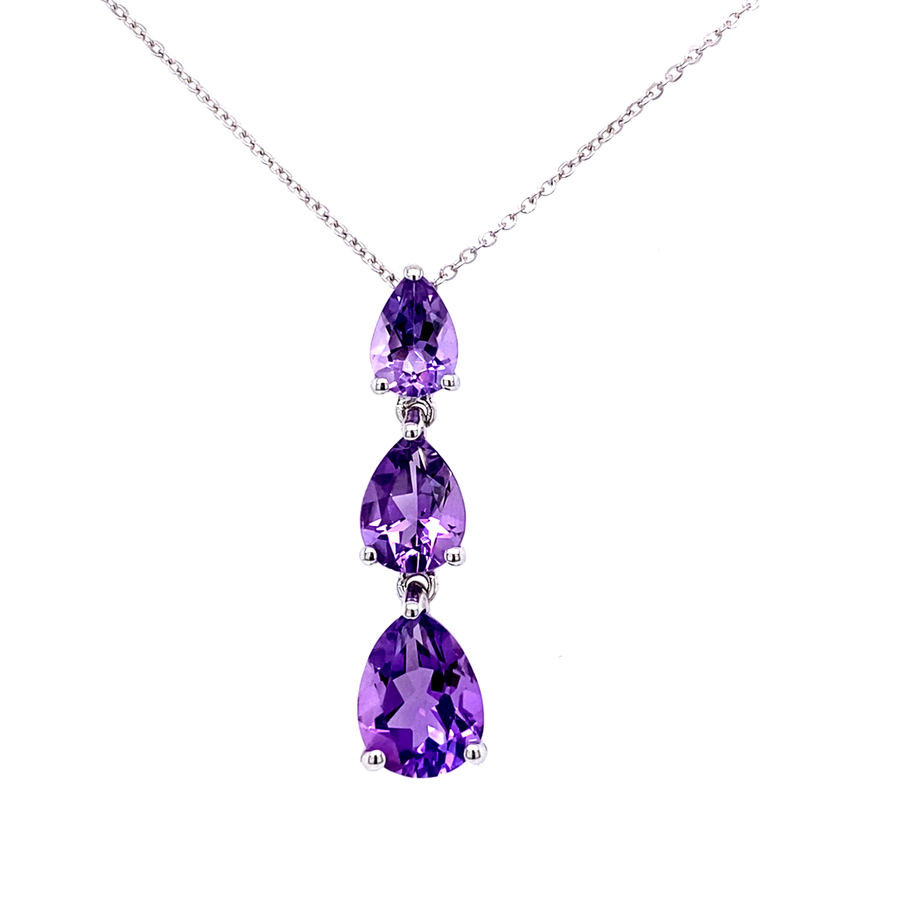 9ct white gold featuring three Amethyst pendant