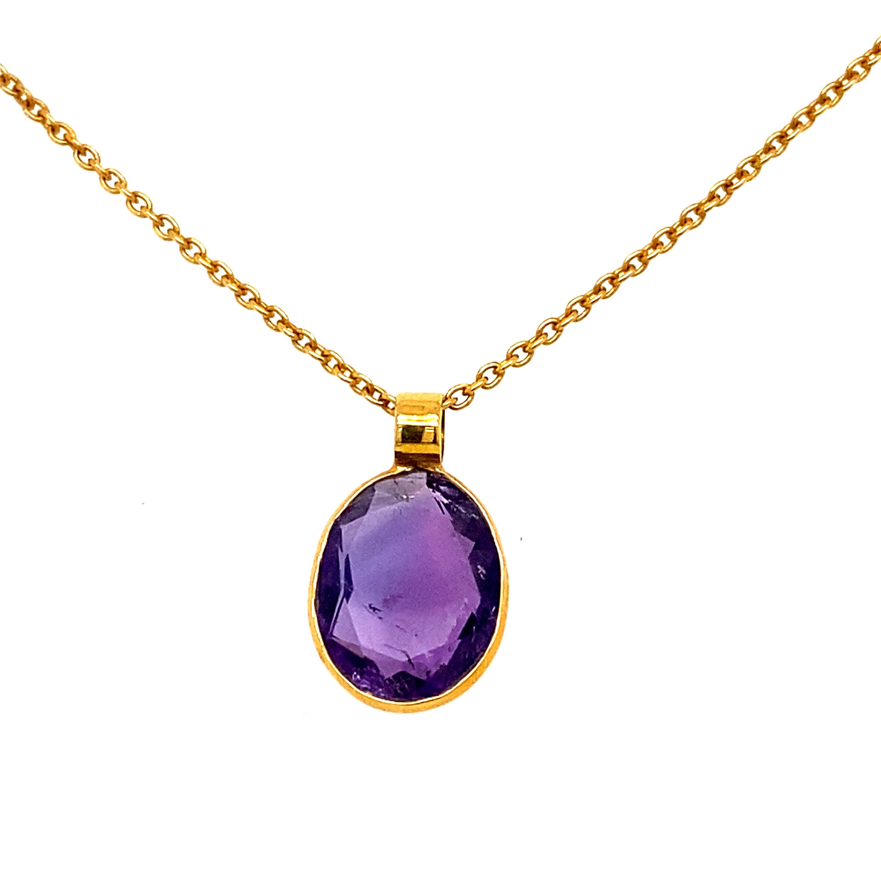 18 Carat Yellow Gold, Amethyst and Diamond Slice Necklace