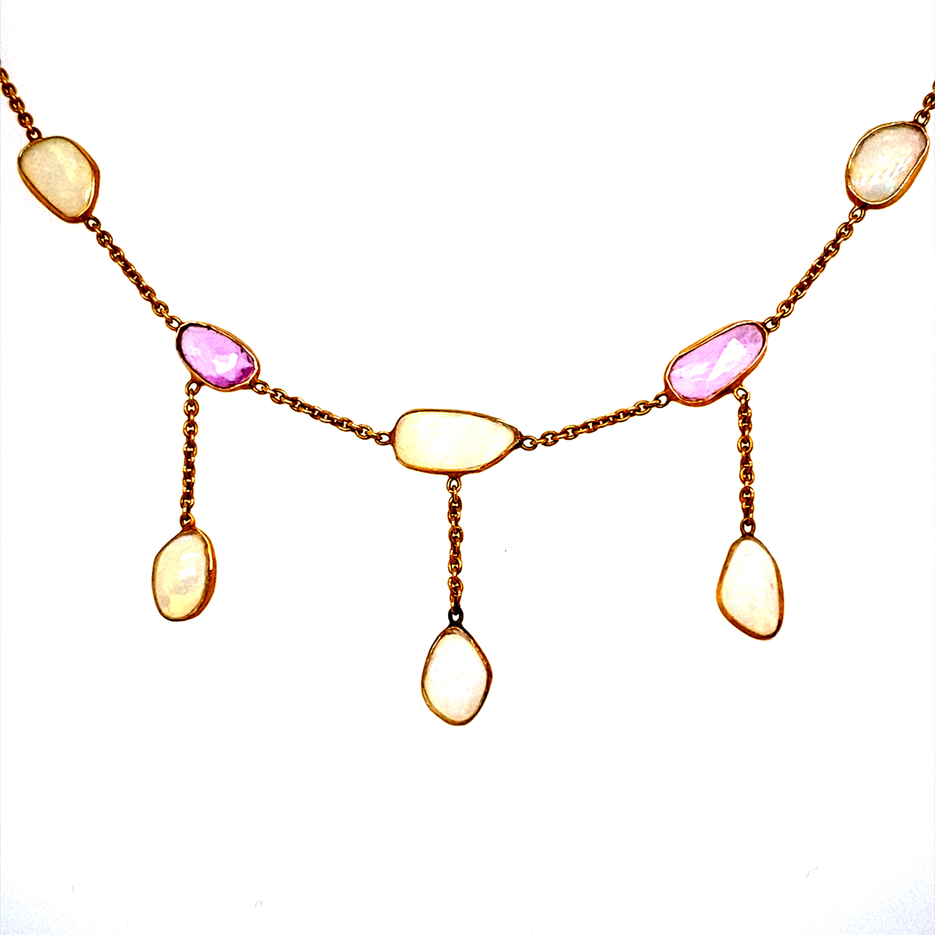 18 Carat Yellow Gold, Opal and Pink Sapphire Necklet