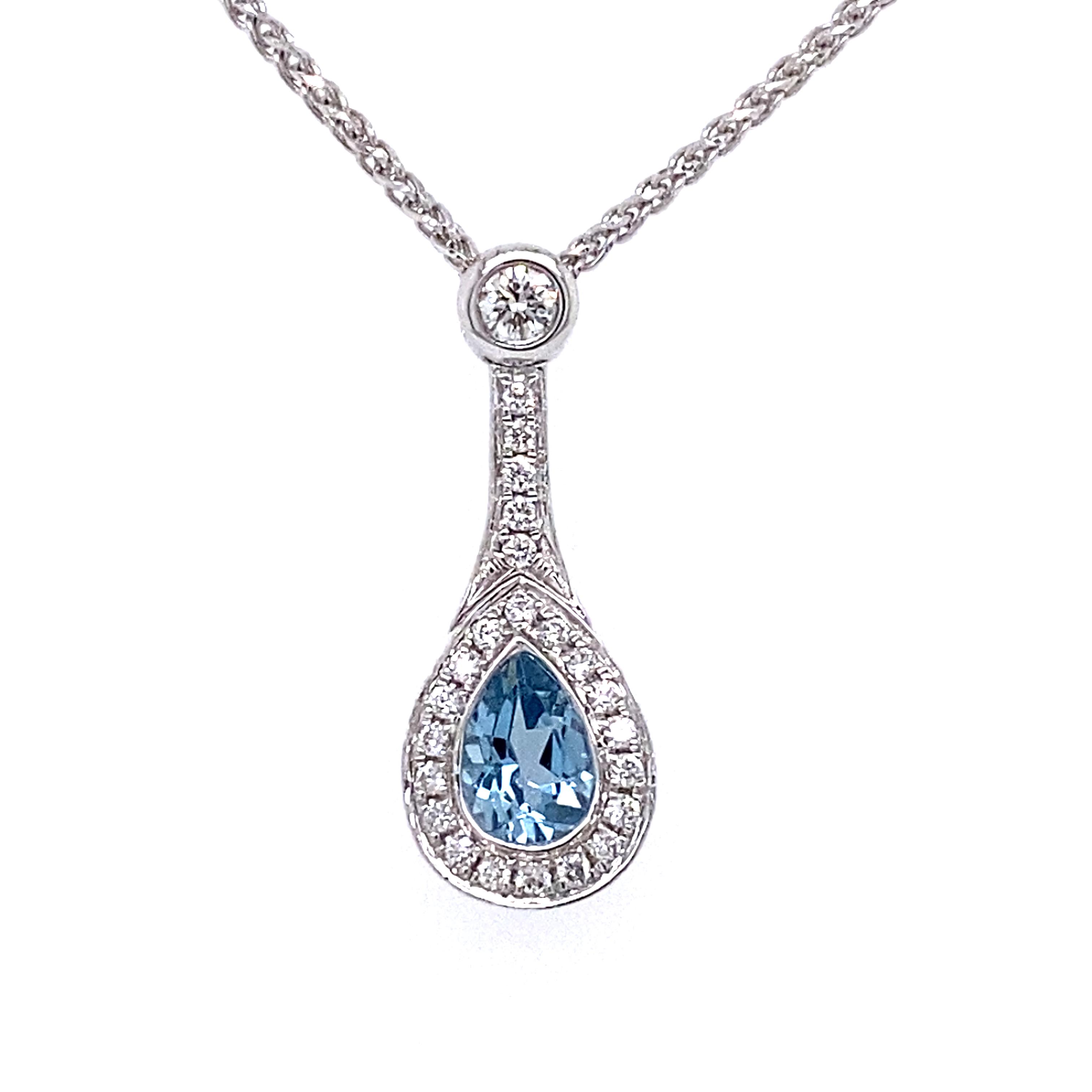18 Carat White Gold Pear Shape Aquamarine and Diamond Pendant