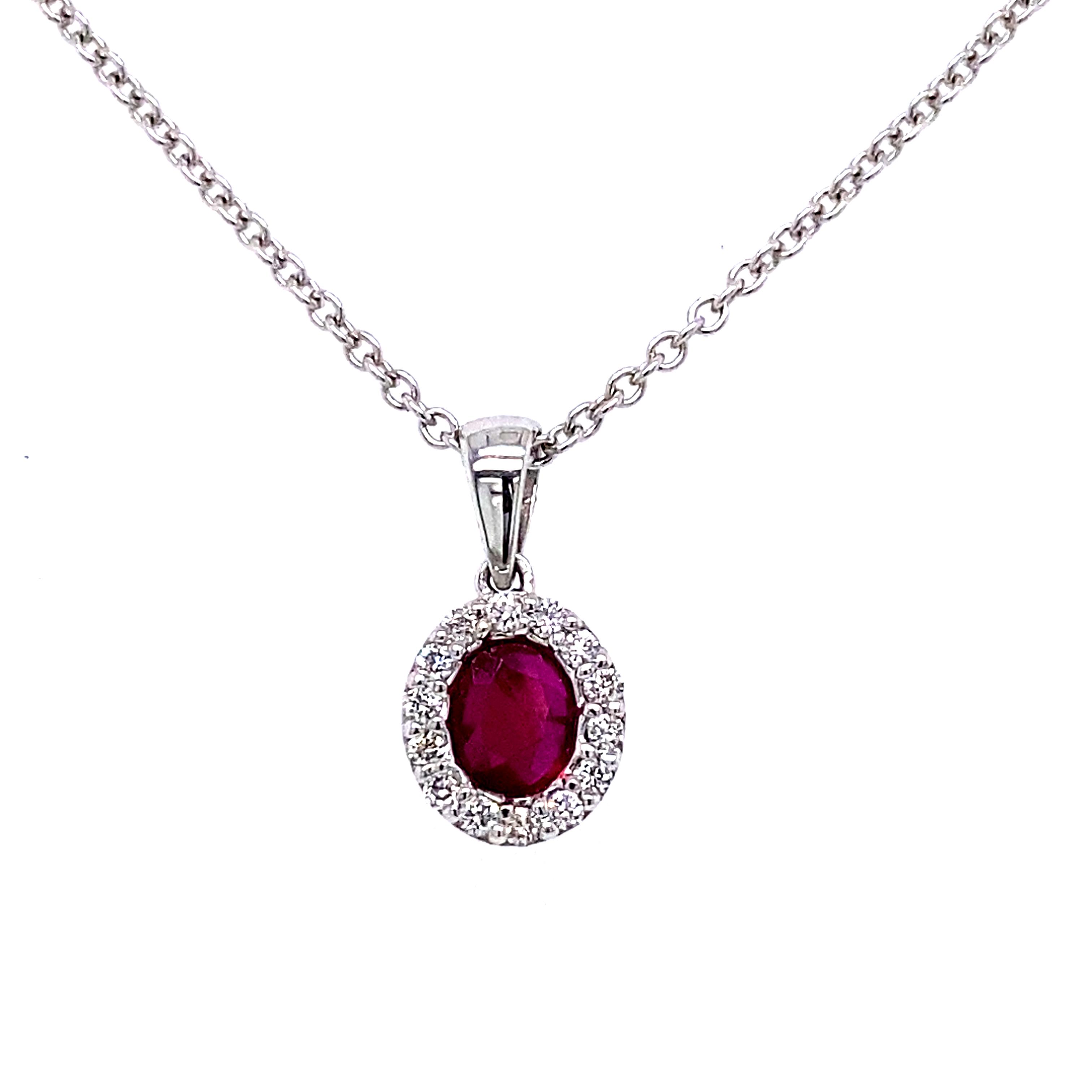 18 Carat White Gold, Ruby and Diamond Pendant