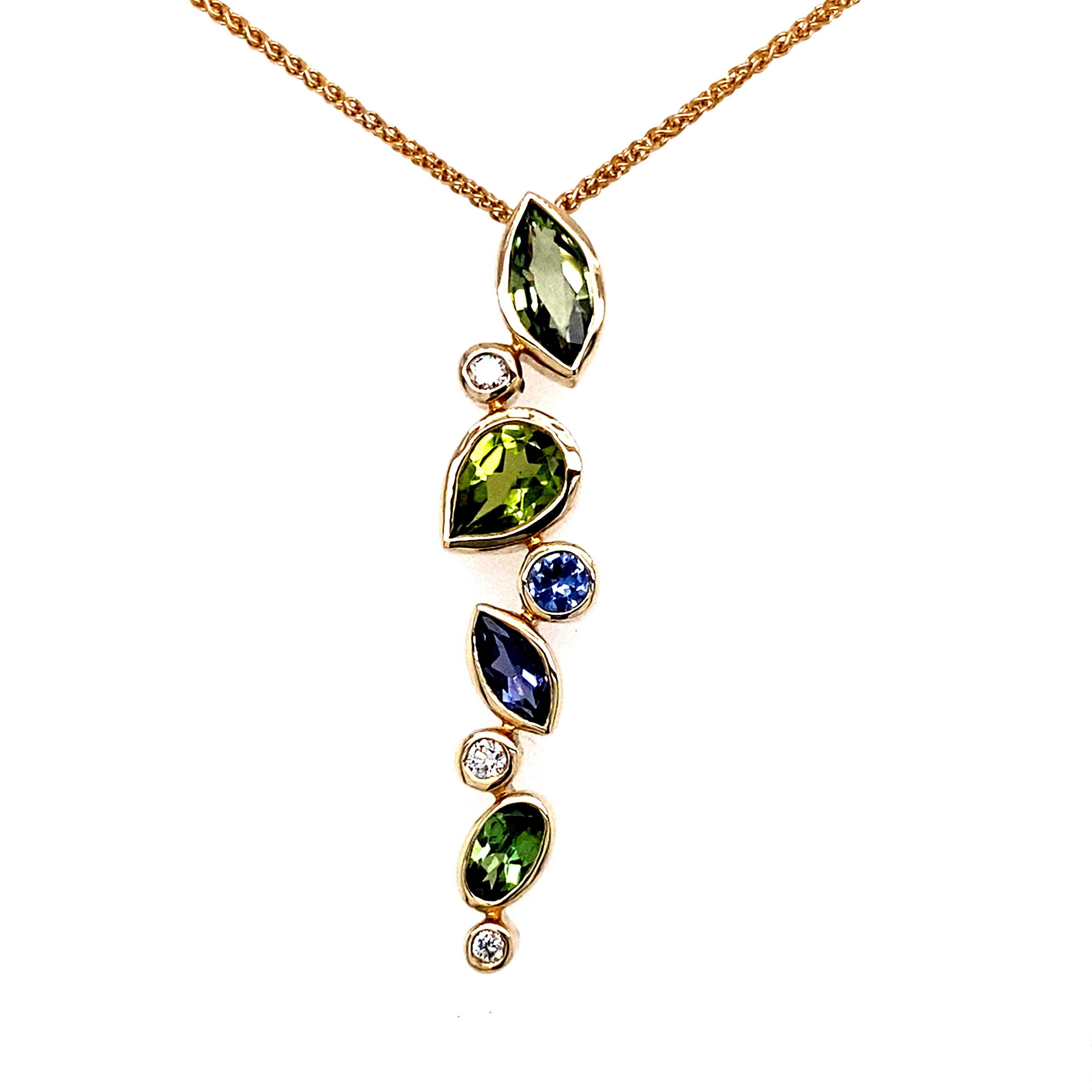 9 Carat Yellow Gold Multi Stone pendant