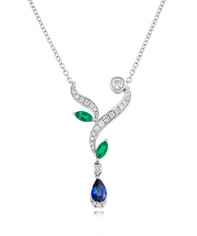 18ct White Gold Sapphire and Emerald Leaf Style Necklet