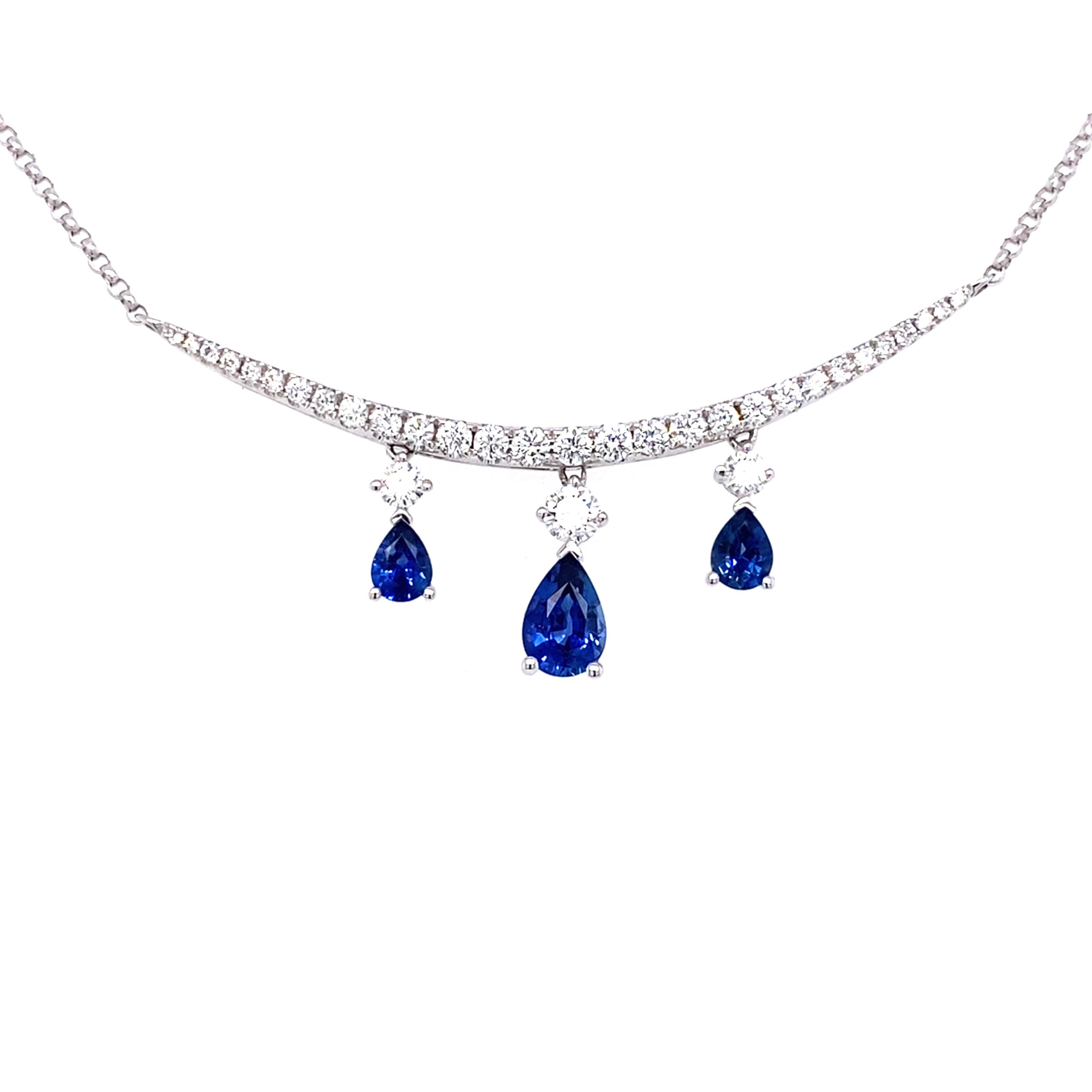 18ct White Gold Diamond and Sapphire Necklet