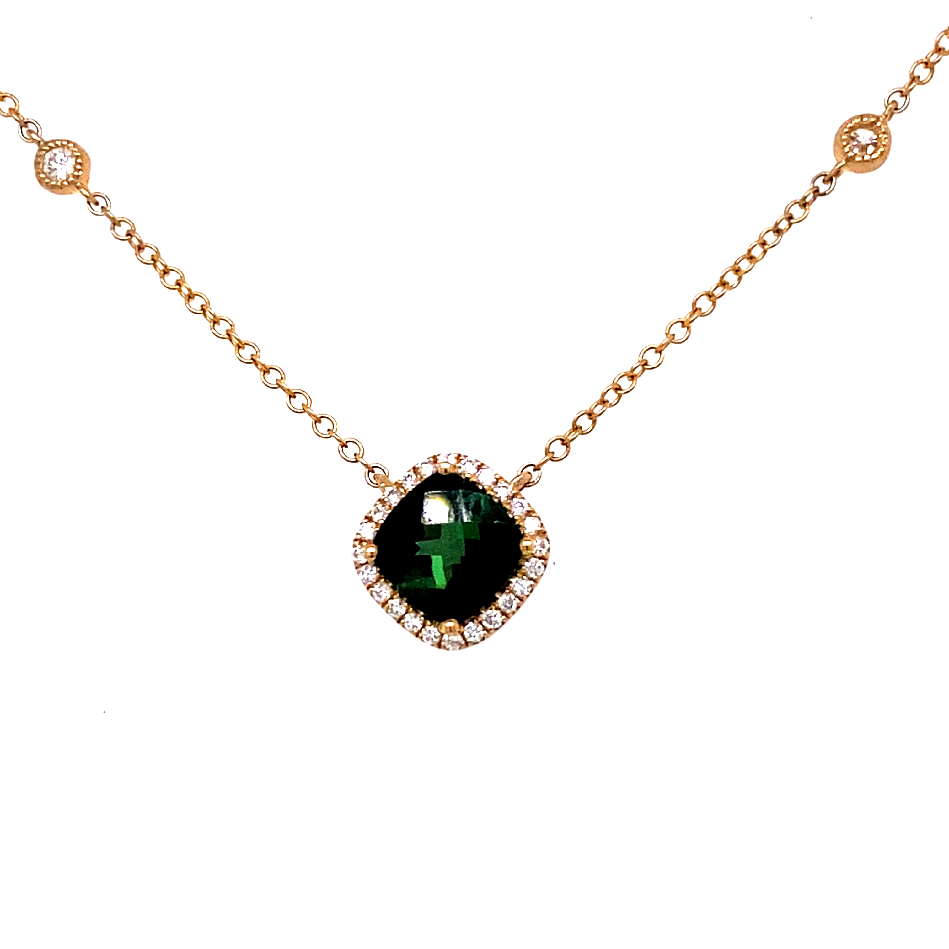 Green Tourmaline and Diamond Necklet