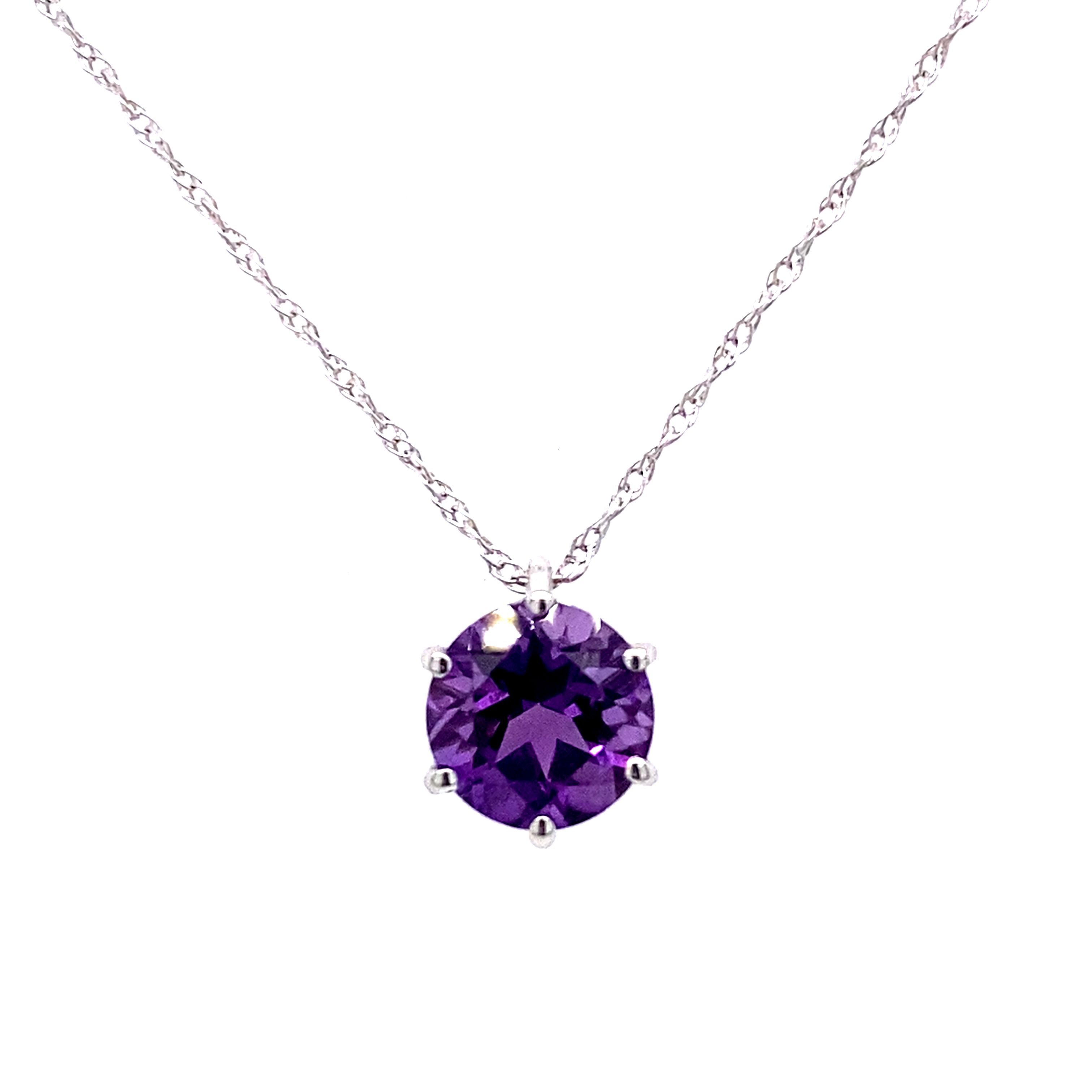 9 Carat White Gold and Amethyst Pendant