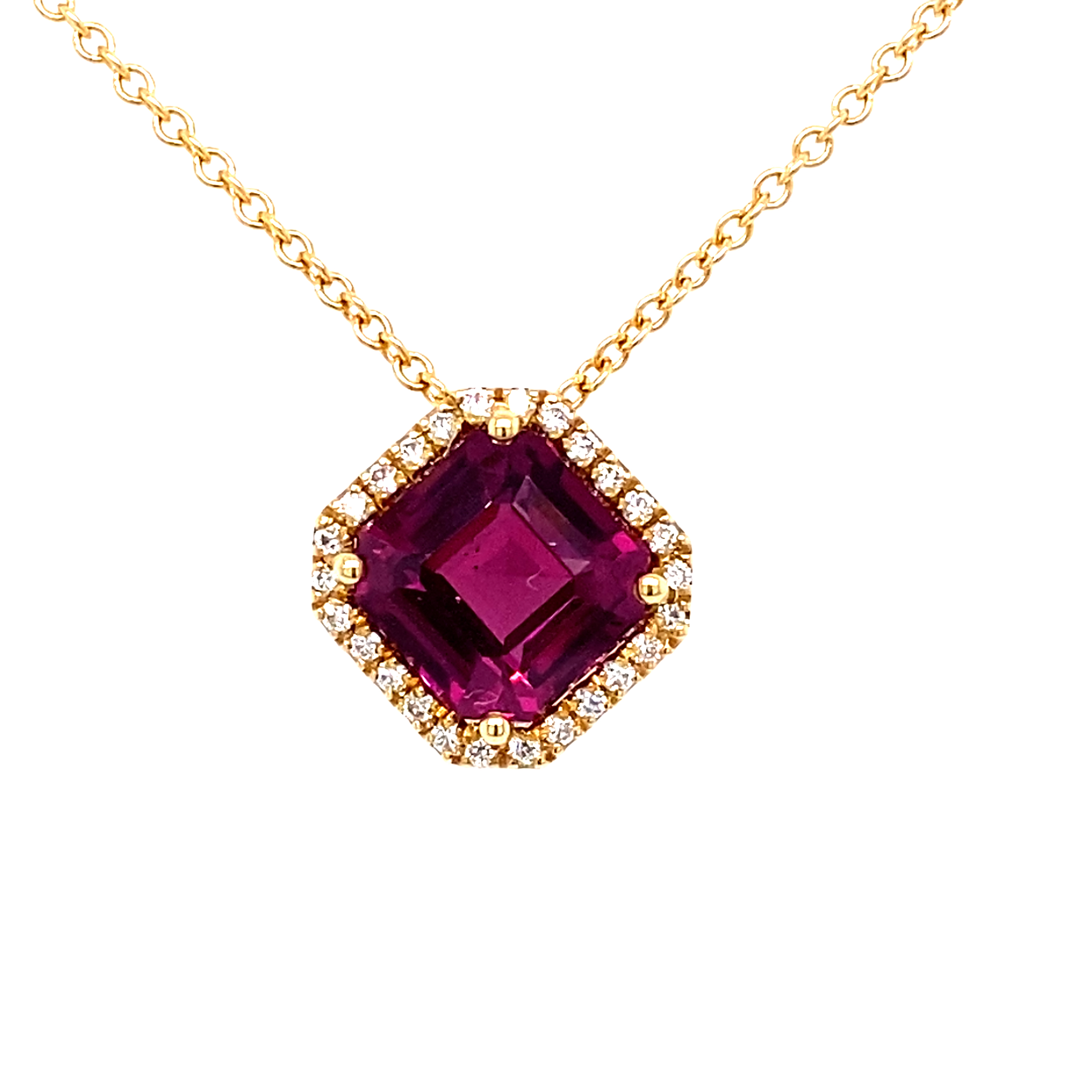 Rhodolite Garnet and Diamond Pendant 18 Carat Yellow Gold