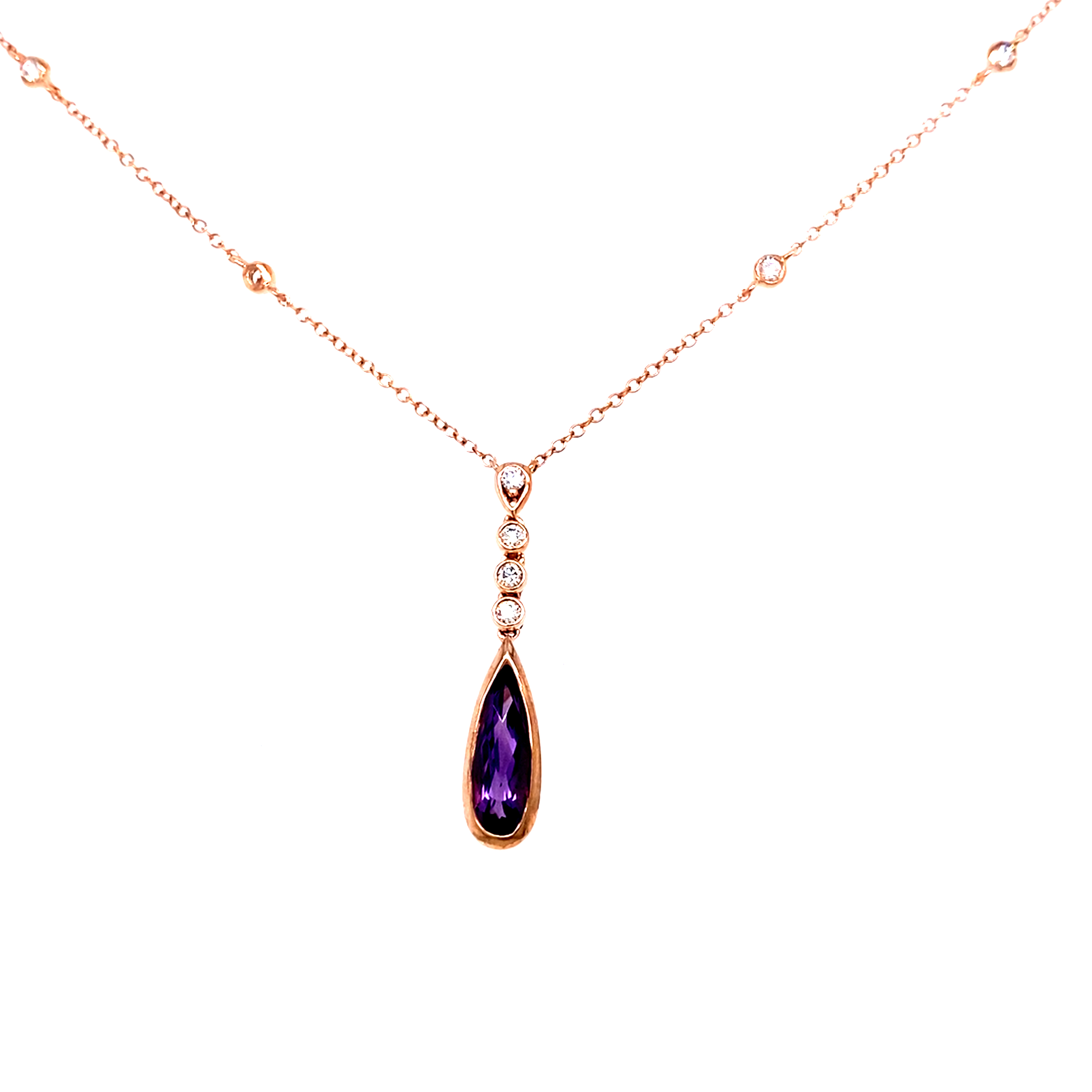 Beautiful Amethyst and diamond pendant in rose gold