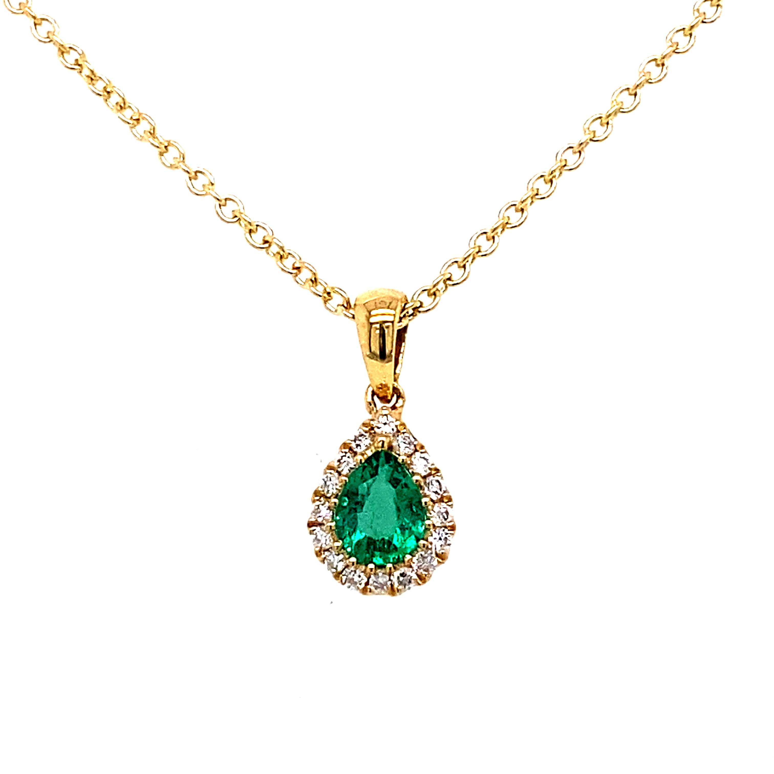 18 Carat Yellow Gold, Emerald and Diamond Pendant