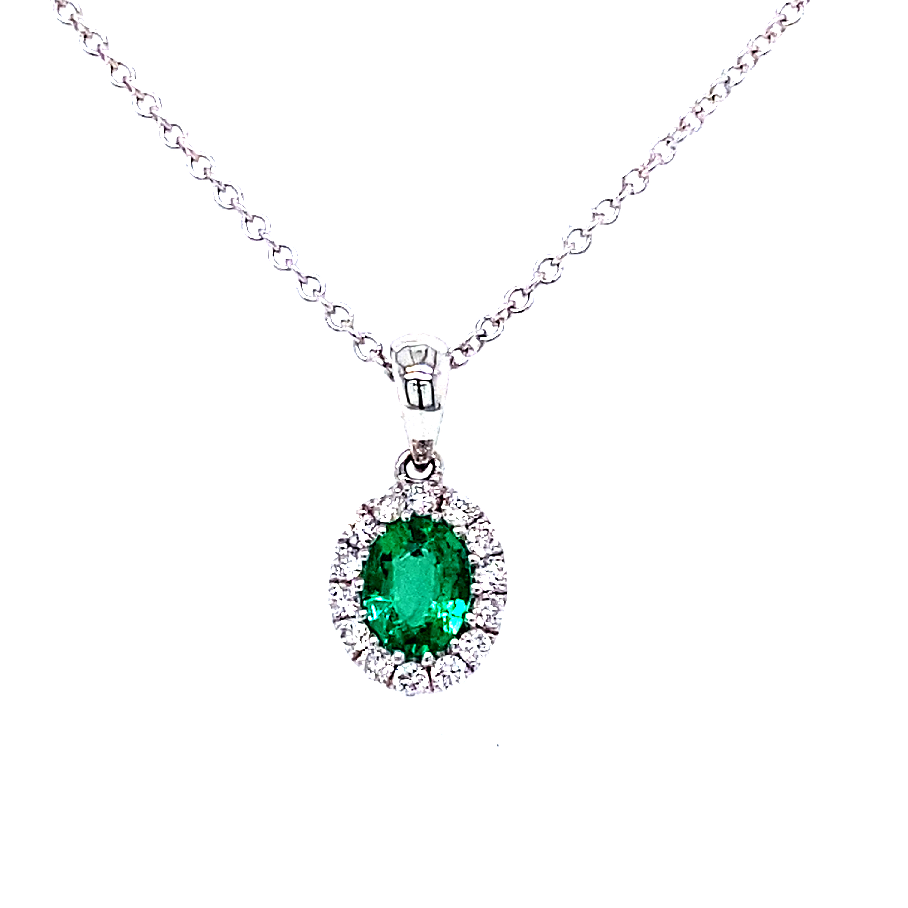 18 Carat White Gold Emerald and Diamond Pendant