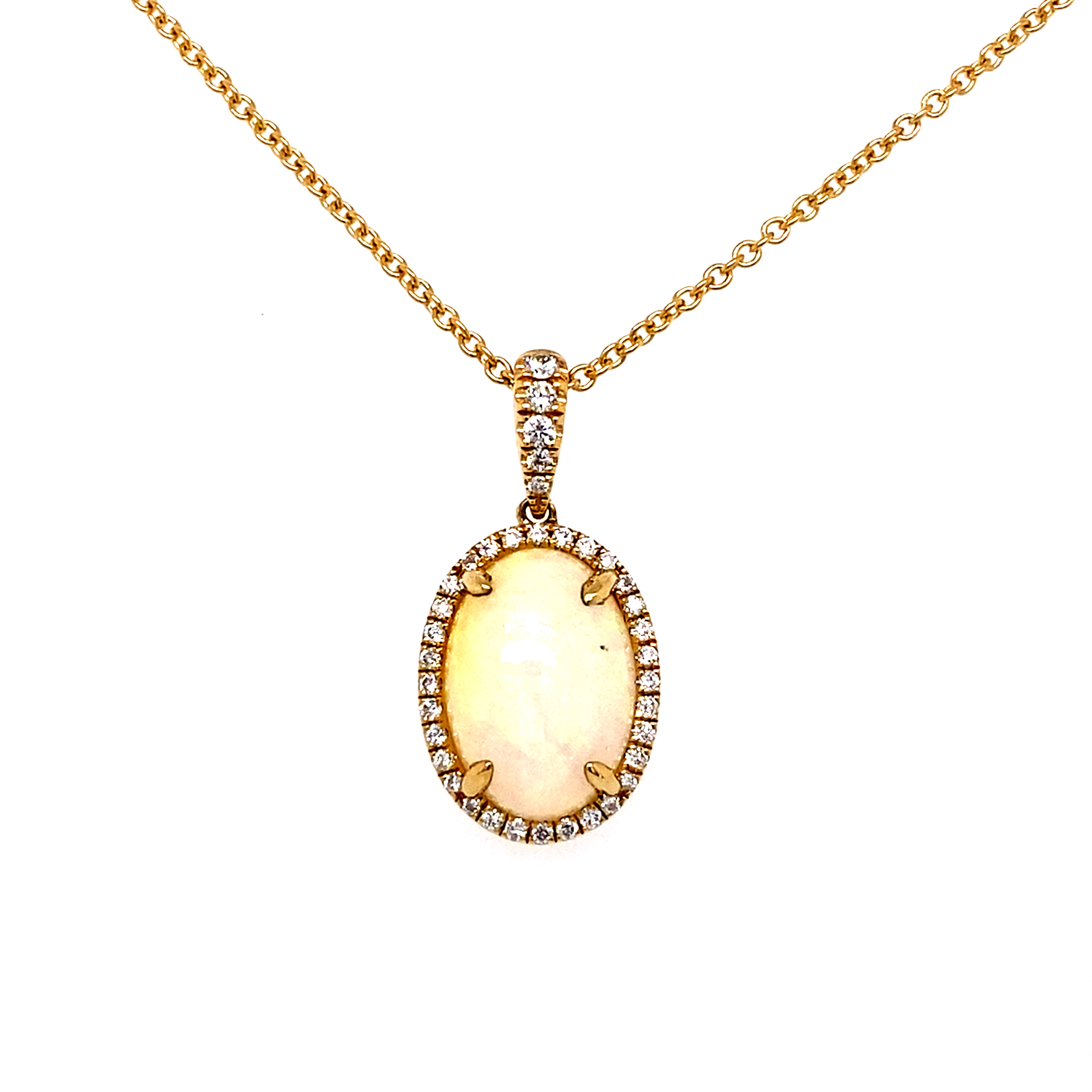 18 Carat Yellow Gold, Opal and Diamond Pendant