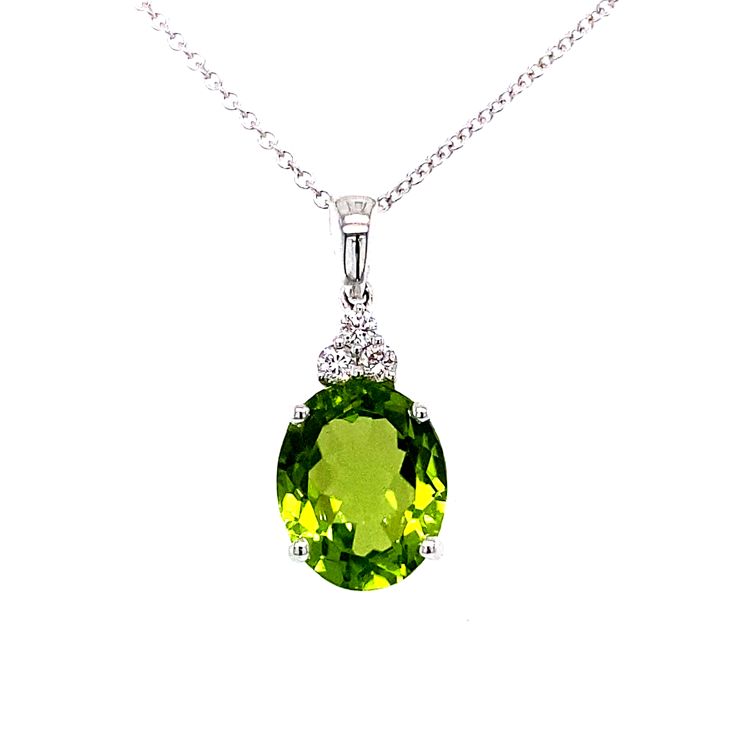 18 carat White Gold Oval Peridot and Diamond Pendant