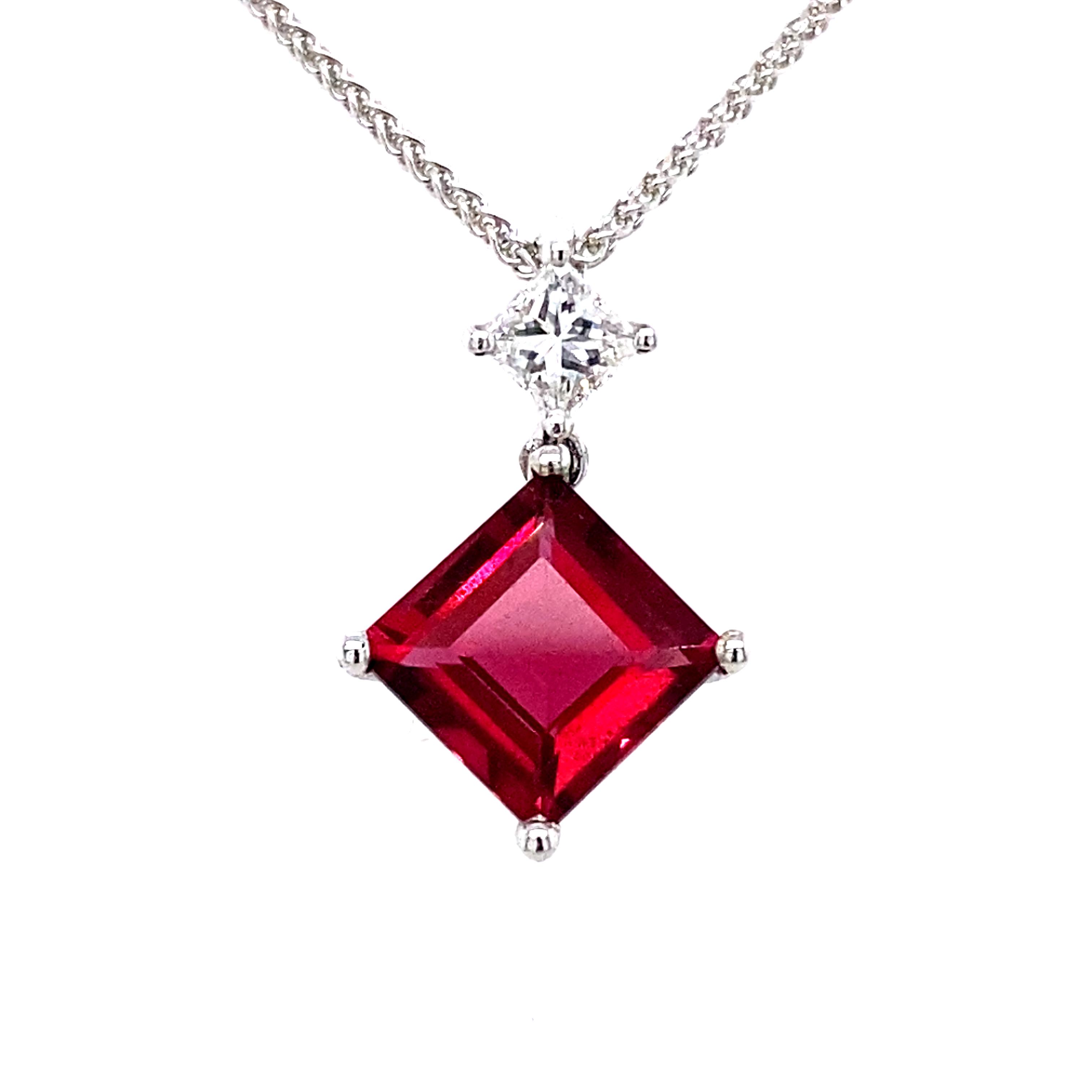 18 Carat Gold Rubelllite and Diamond Pendant