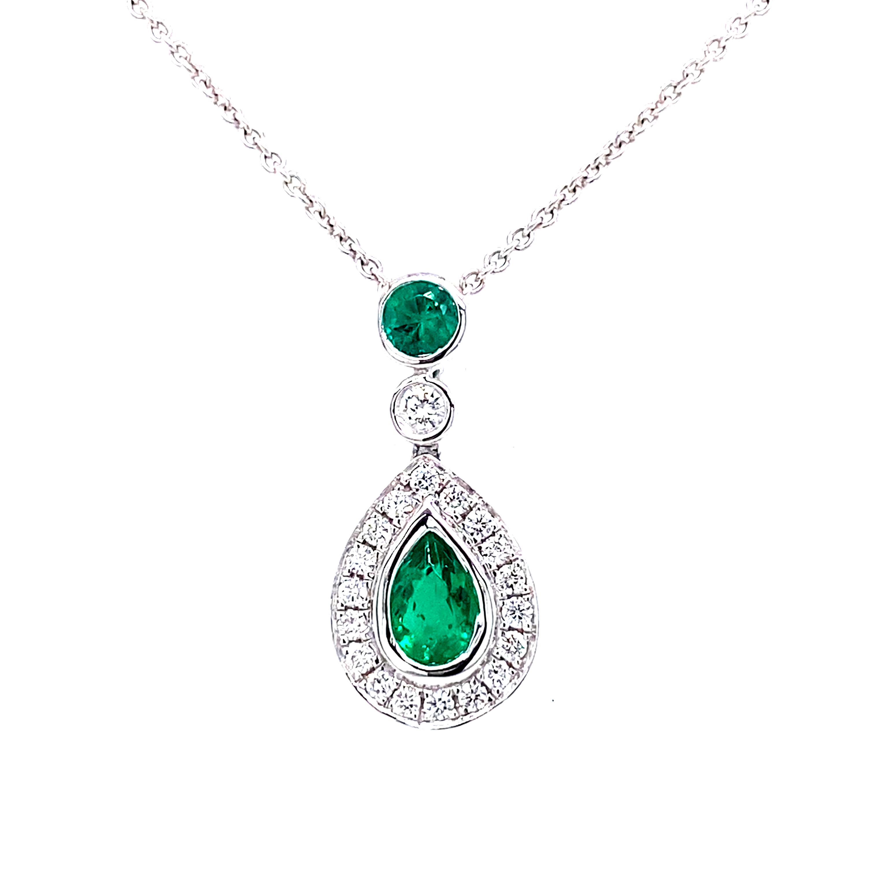 18ct White Gold Emerald and Diamond Pendant
