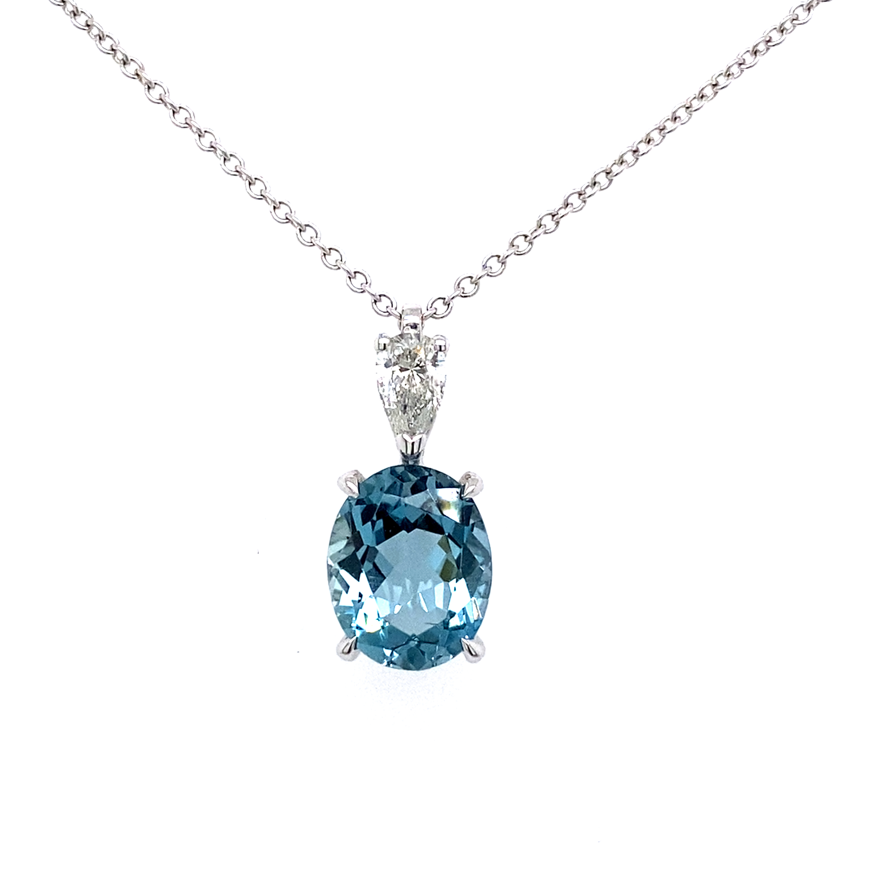 18 Carat White Gold, Aquamarine and Diamond Pendant