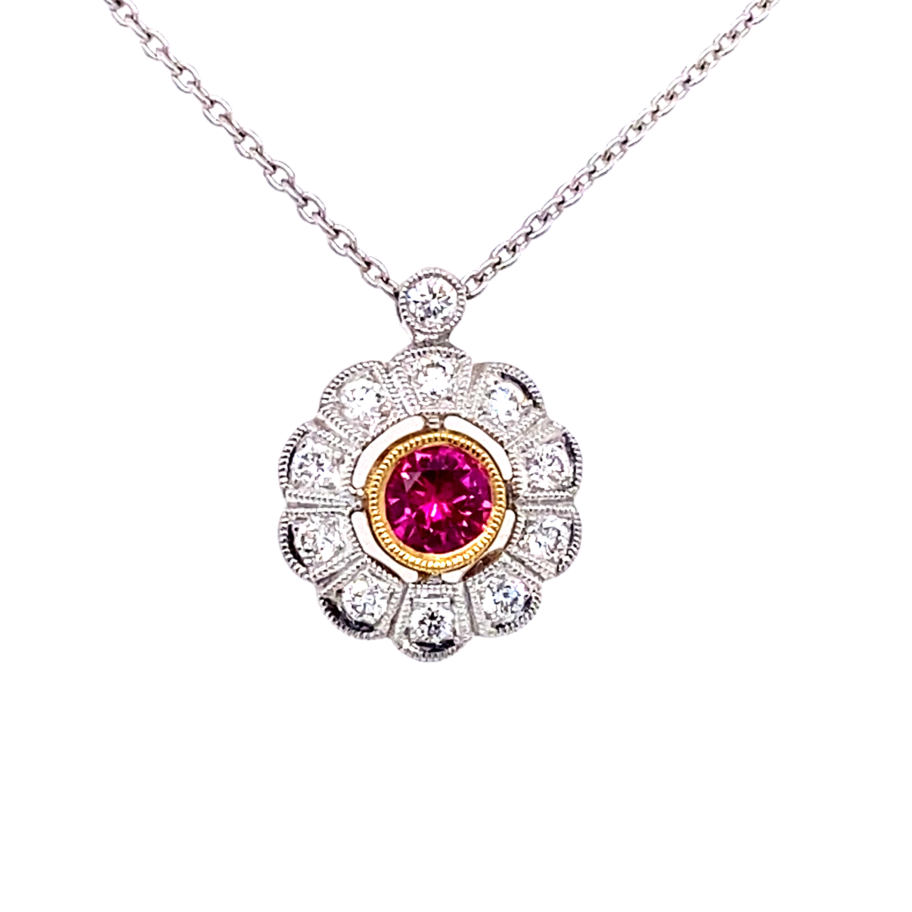 18 Carat White Gold Ruby and Diamond Pendant