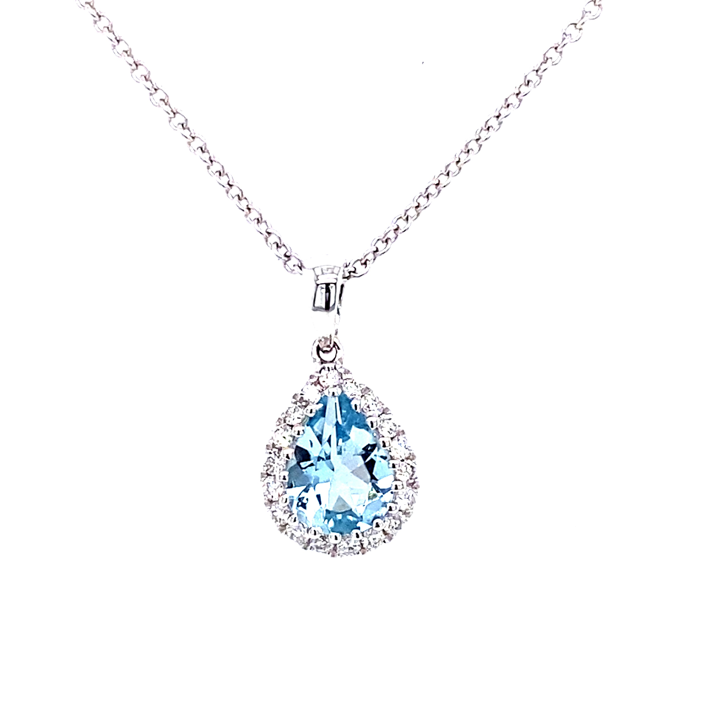 18 Carat White Gold, Pear Shape Aquamarine and Diamond Pendant