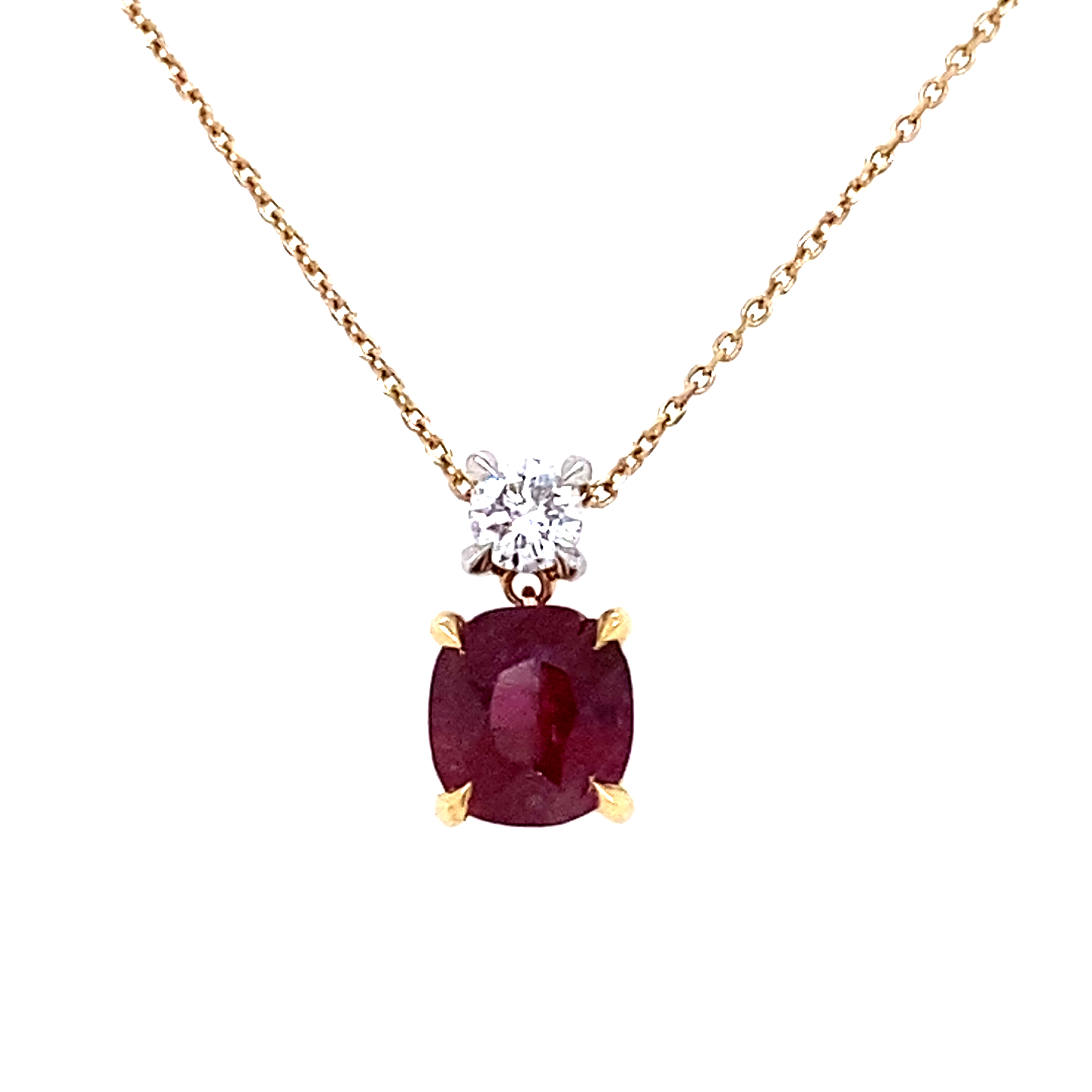 A Cushion Shaped Ruby Pendant with A diamond Accent