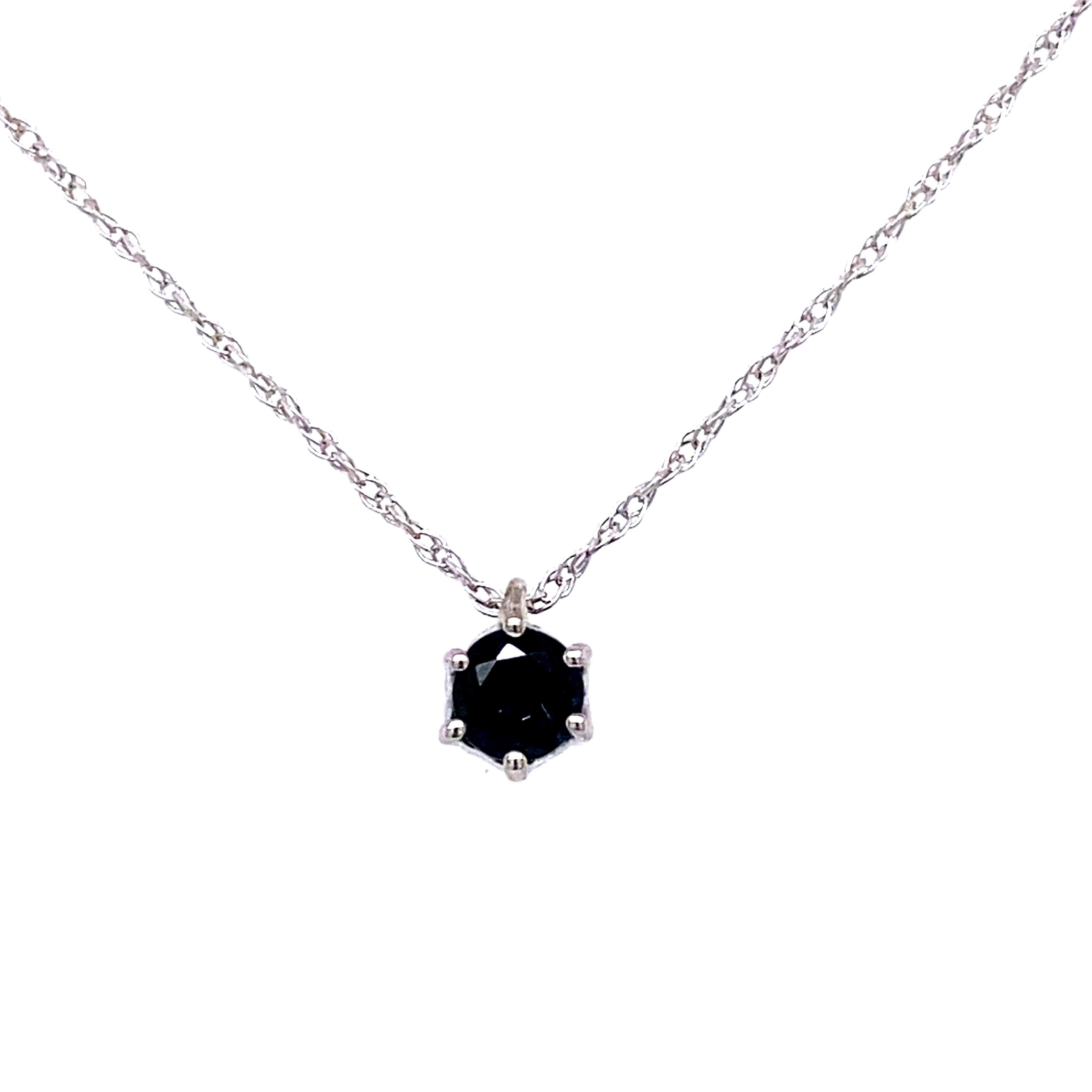 9ct white gold solitaire Sapphire pendant