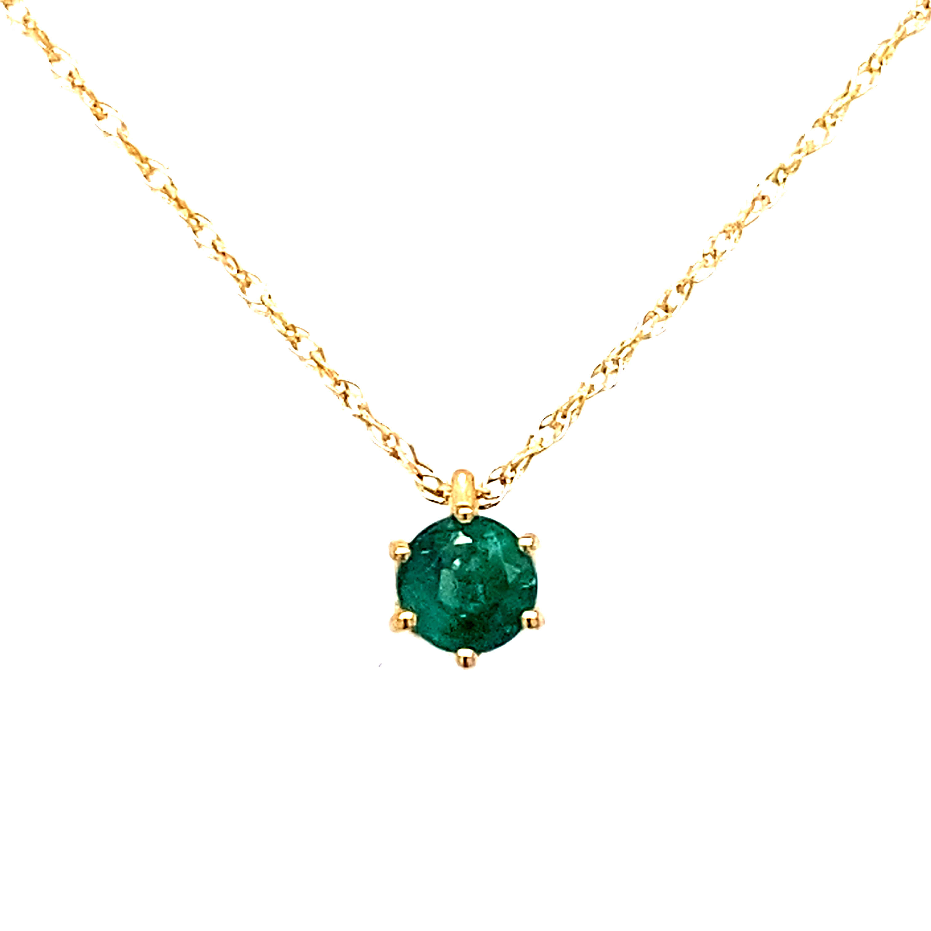 9 Carat Yellow Gold Emerald Pendant