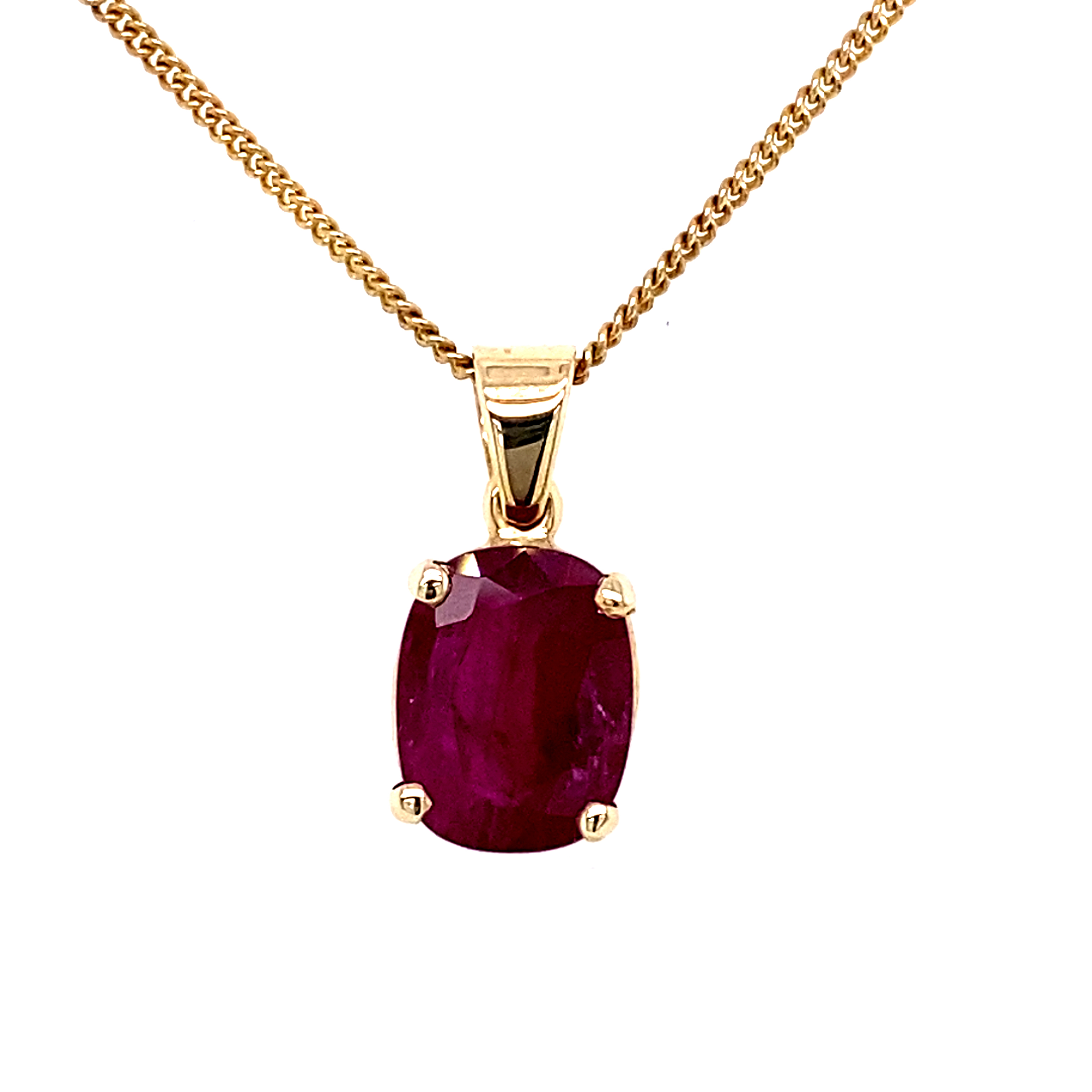 9 Carat Yellow Gold and Ruby Pendant