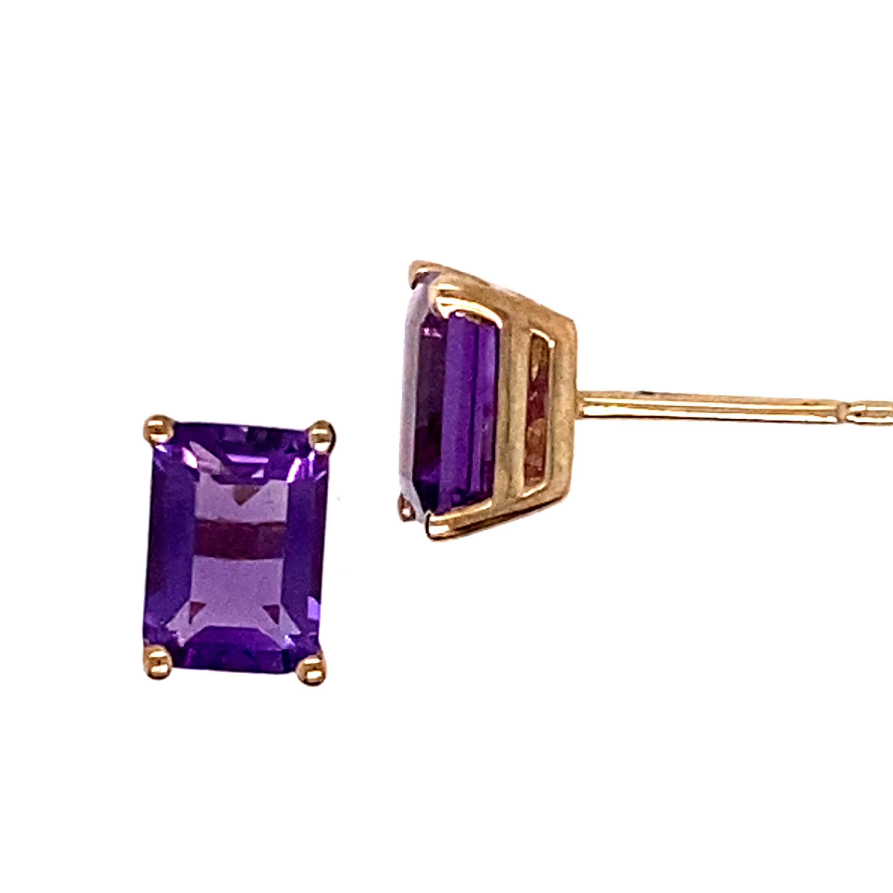 18 Carat Yellow Gold and Amethyst Studs