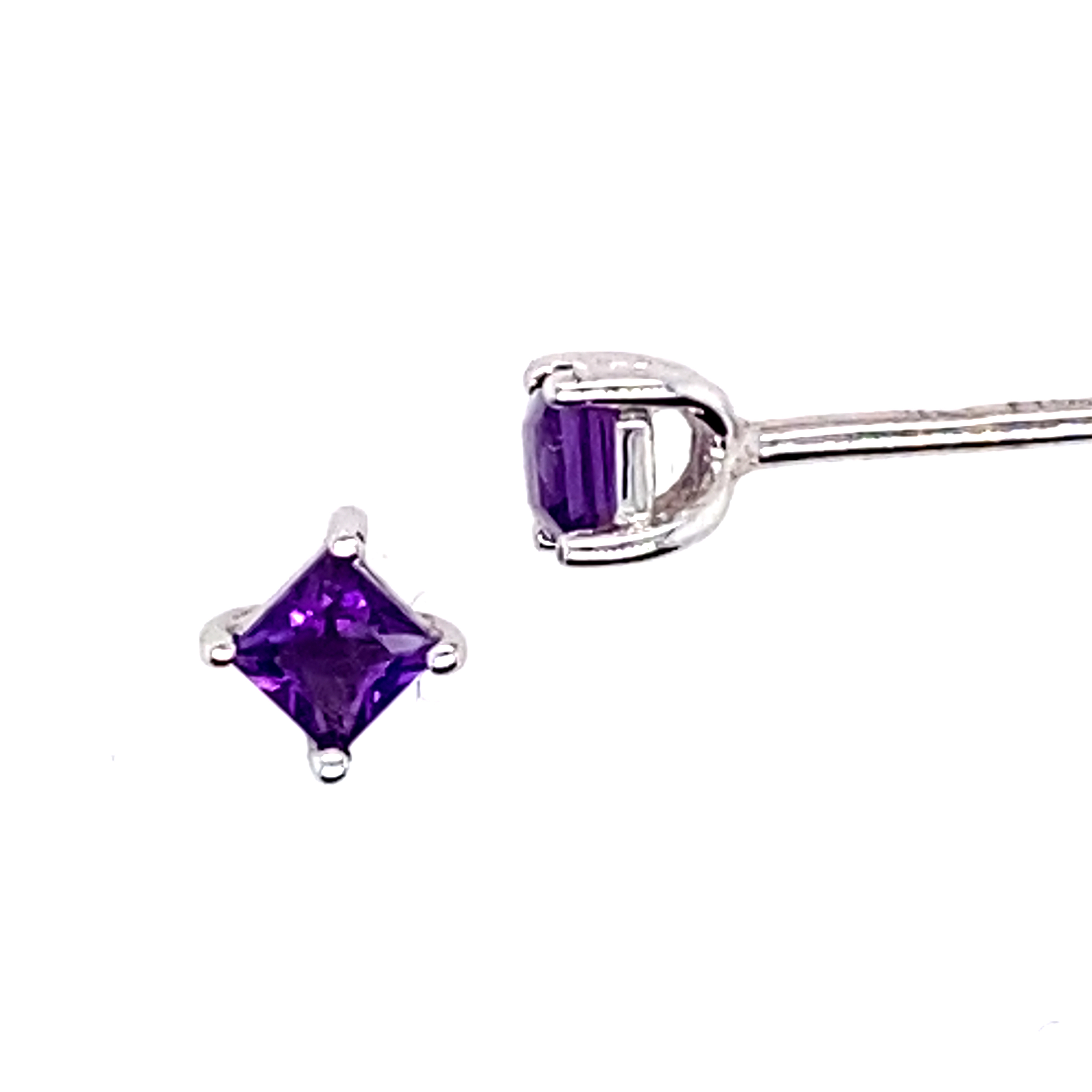 9 Carat White Gold and Amethyst Studs