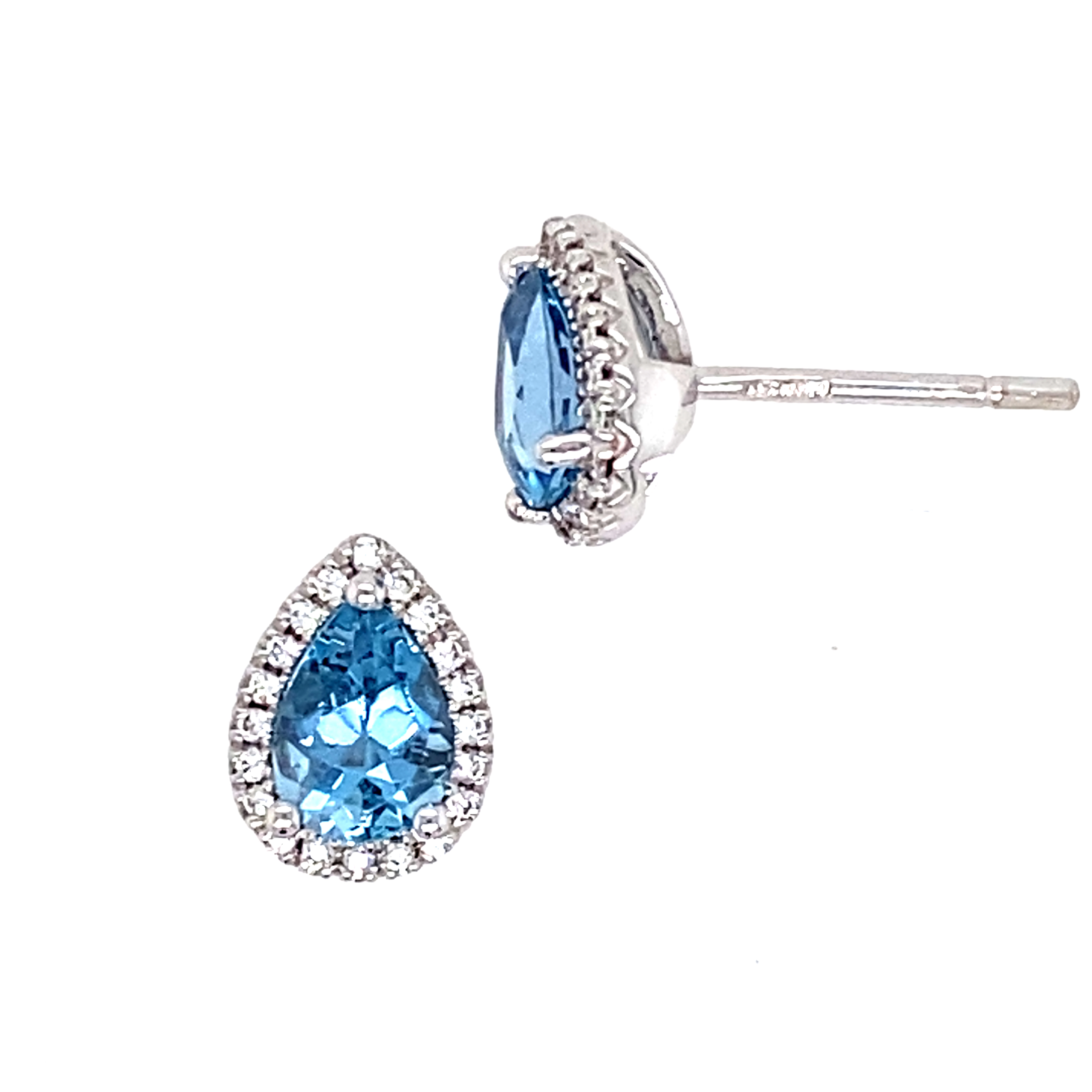 18ct White Gold Aquamarine and Diamond Stud Earrings