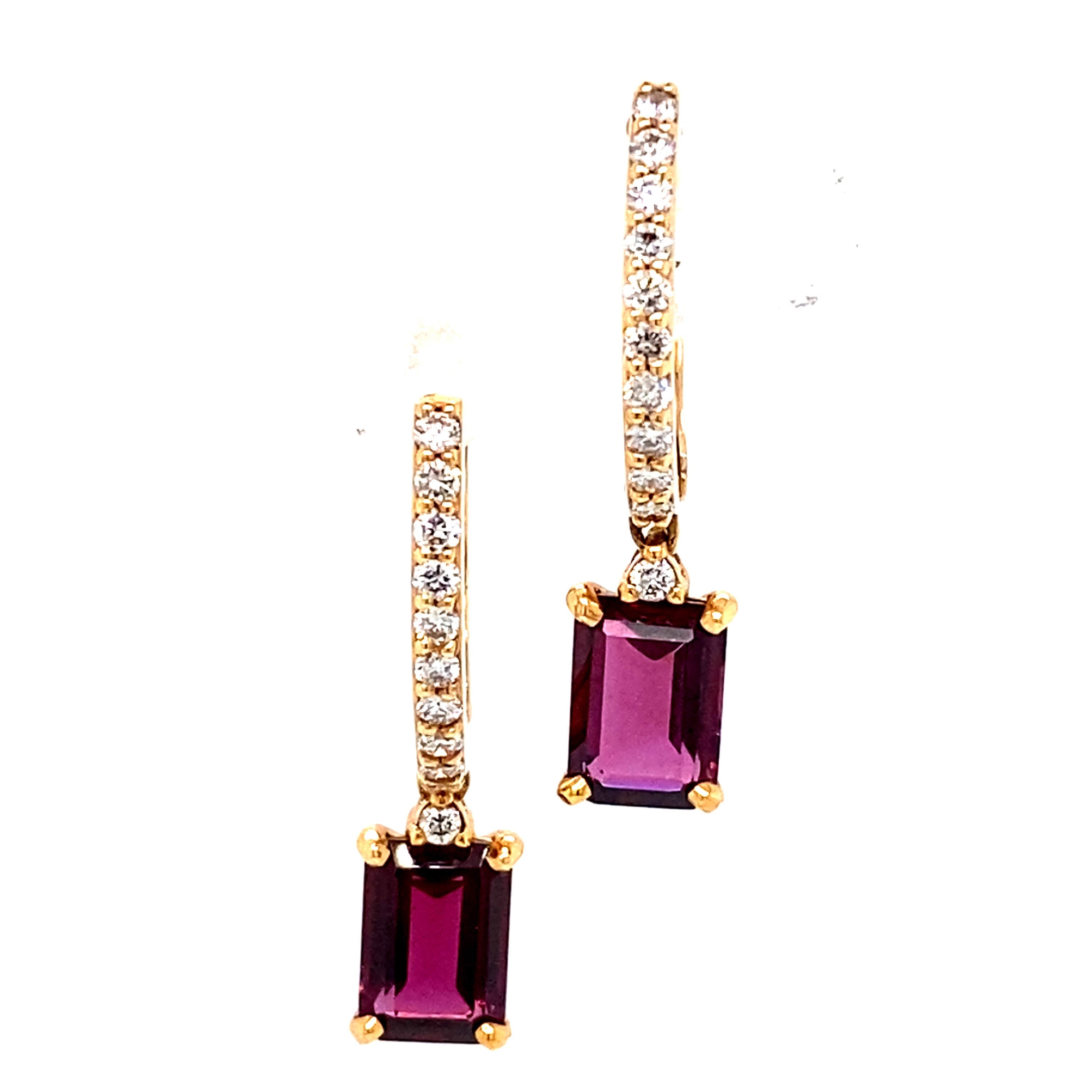 18ct Rose Gold Diamond and Rhodolite Garnet Drop Earrings