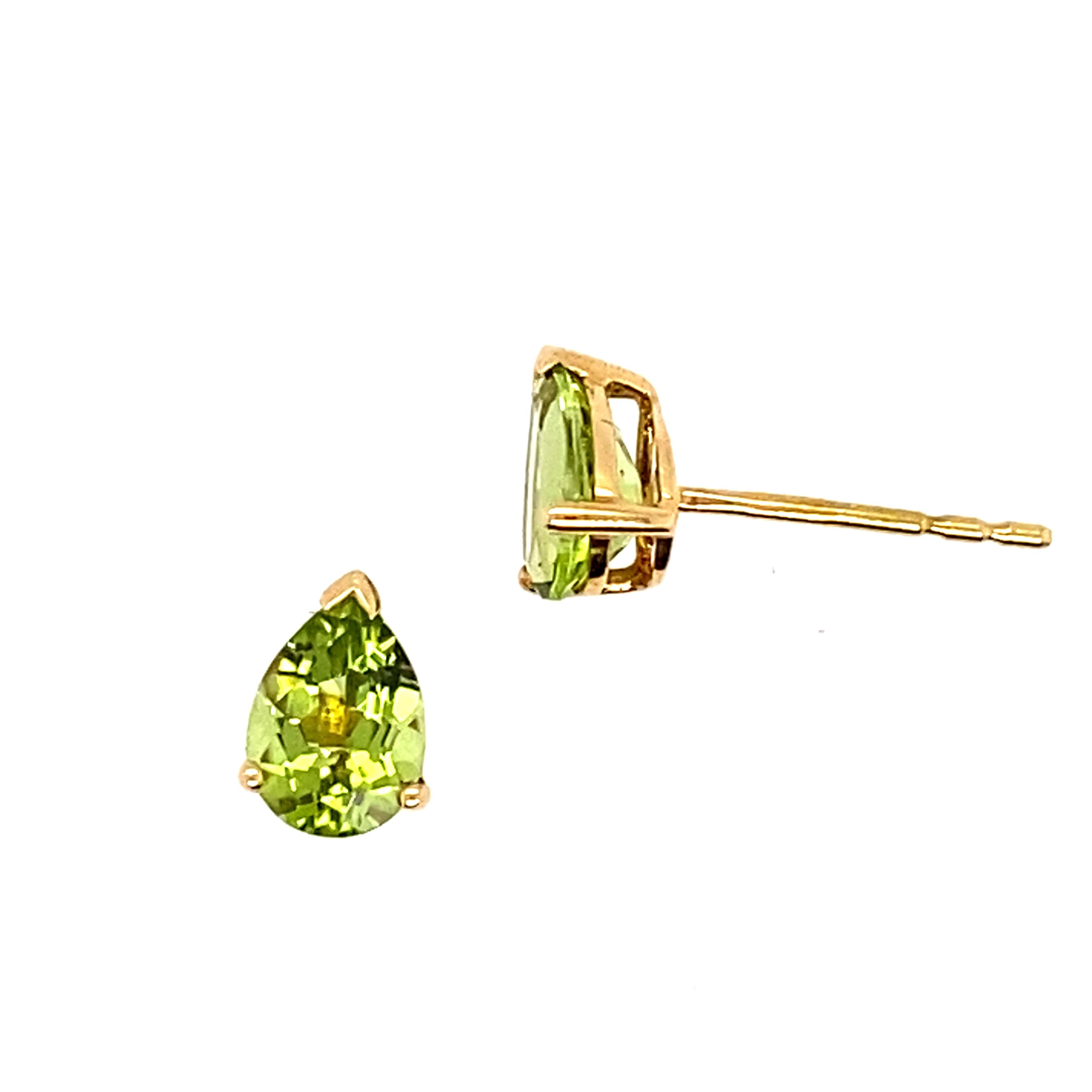 18ct Yellow Gold Pear Shaped Peridot Stud Earrings