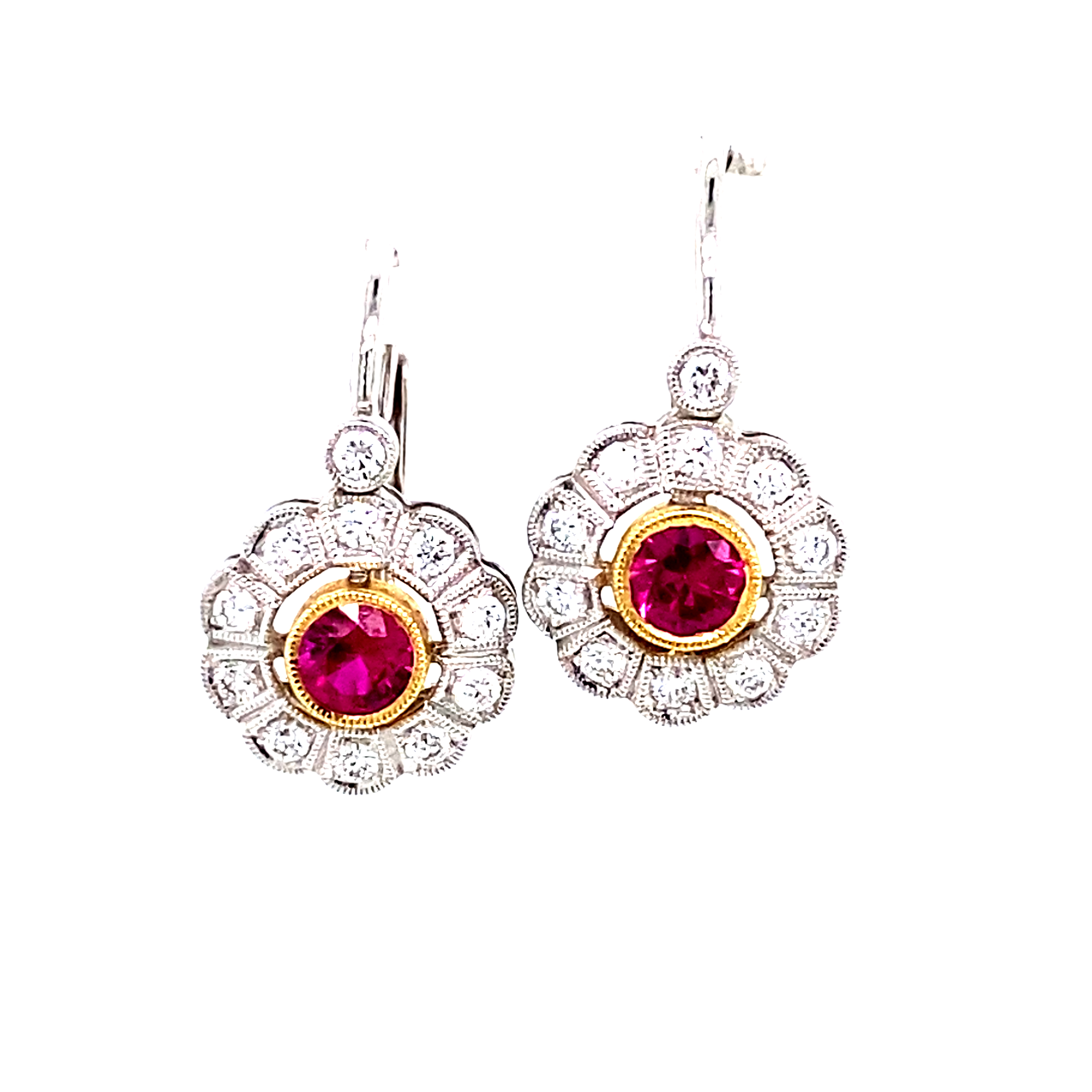 18ct White Gold Earrings with Rubies and Diamonds